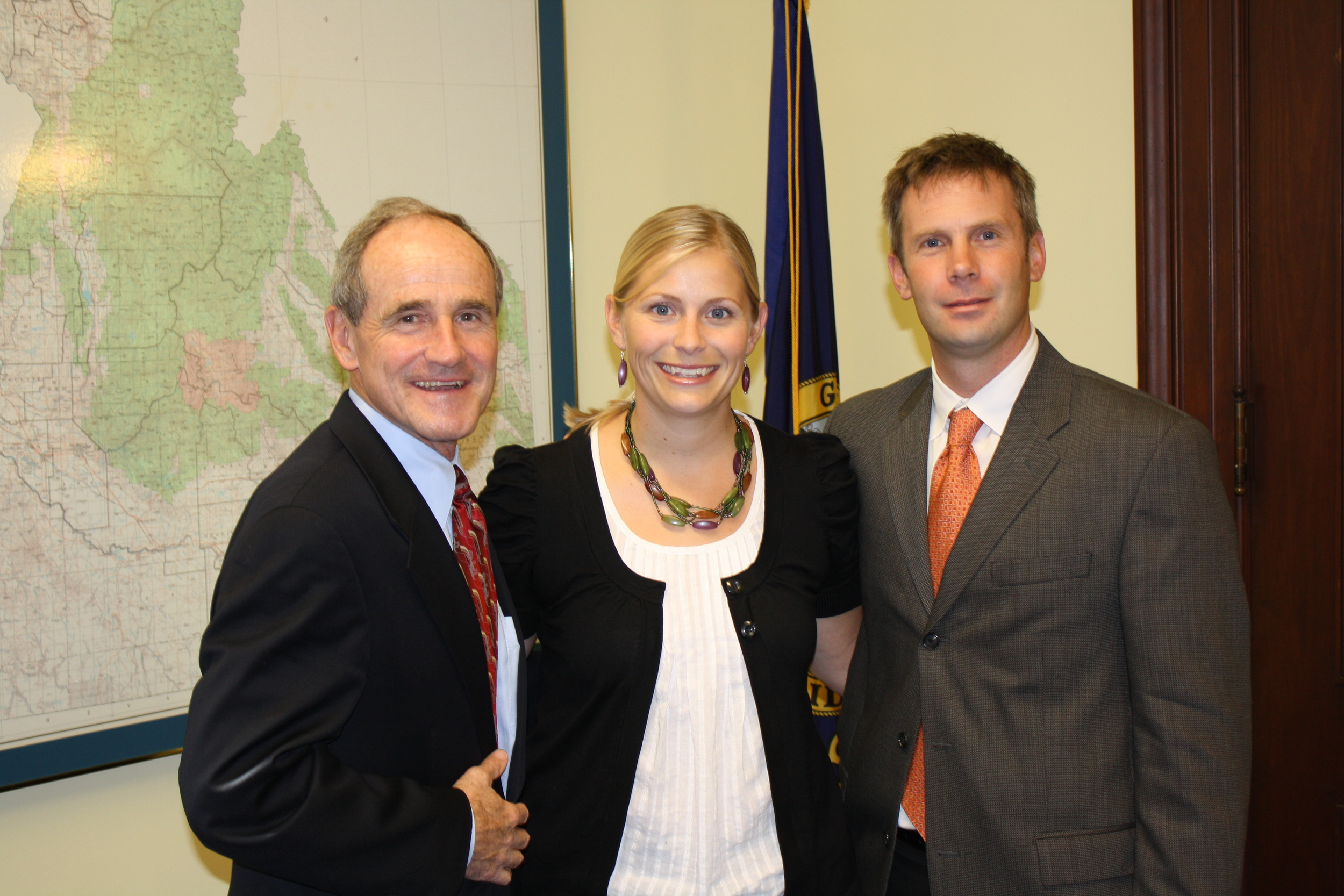 U.S. Sen. Jim Risch, R-Idaho, Stanley Mayor Hannah Stauts and IRU's Greg Stahl pause for a photo after talking about endangered salmon issues last week in Washington, D.C.