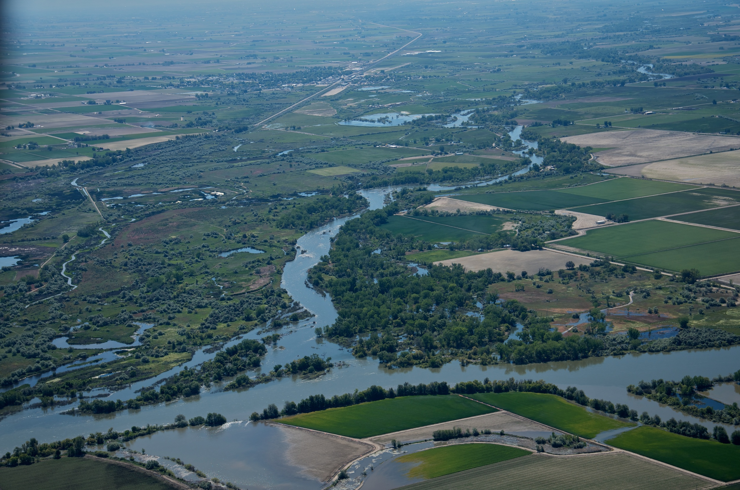 An aerial view of Martin Landing at high water in June 2011 shows a functioning floodplain.