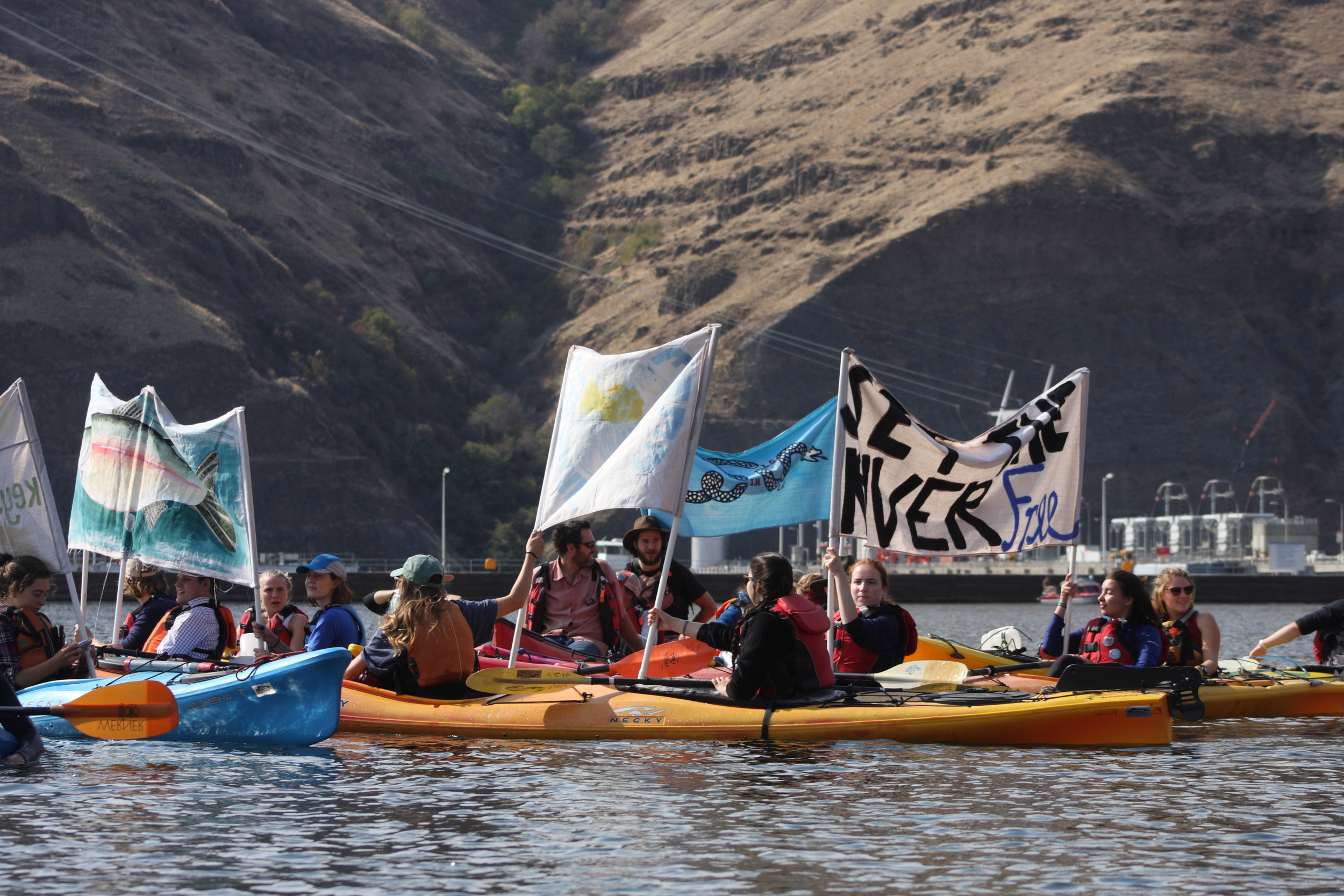 Members of the Free the Snake Flotilla on Lower Granite Lake Oct. 3. Photo by Greg Stahl.
