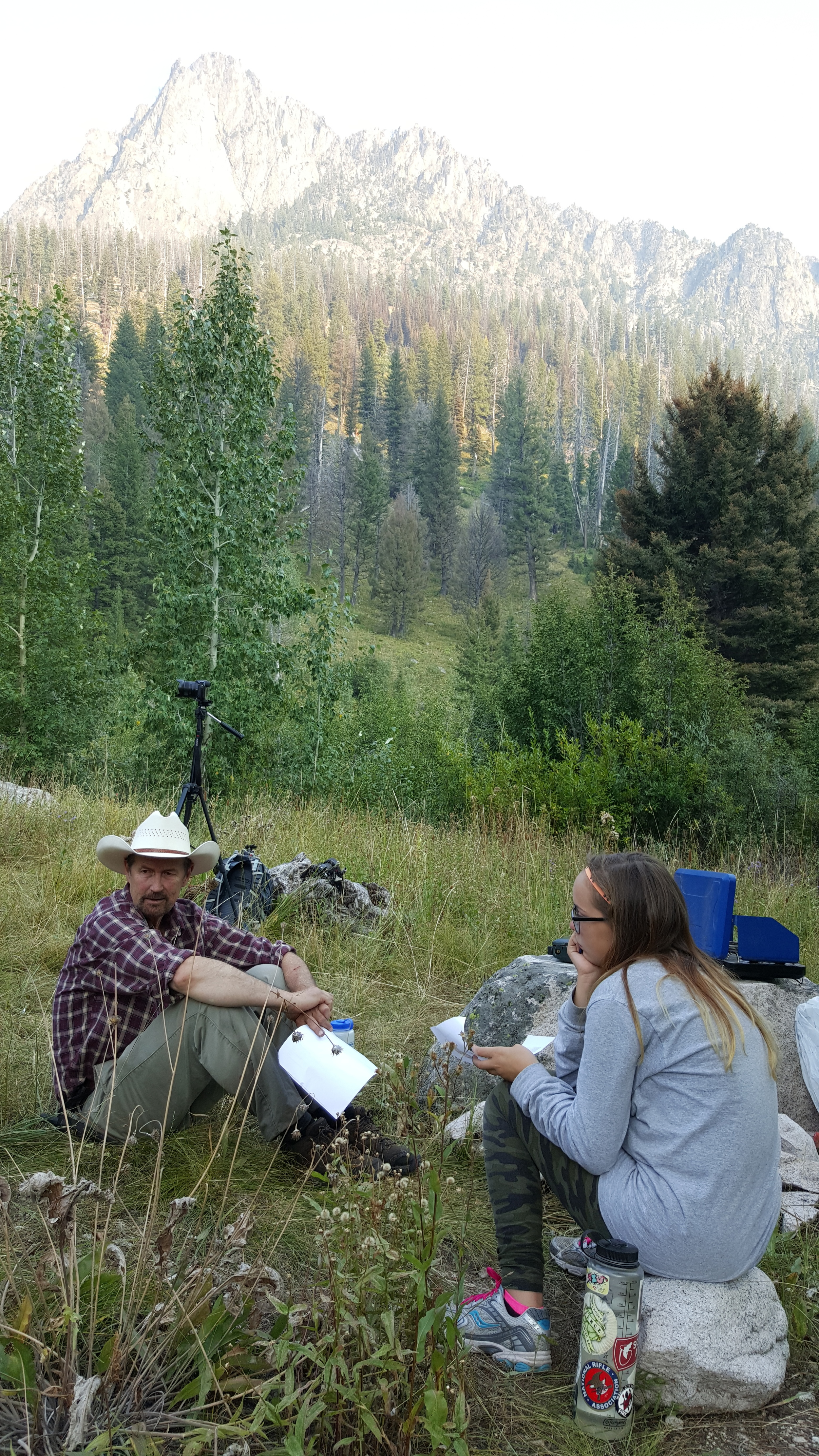 """Outdoor Idaho host Bruce Reichert takes a break in the Sawtooth Mountains near the headwaters of the Boise River during filming of """"Idaho's Headwaters"""" in August 2015. Photo by Greg Stahl."""