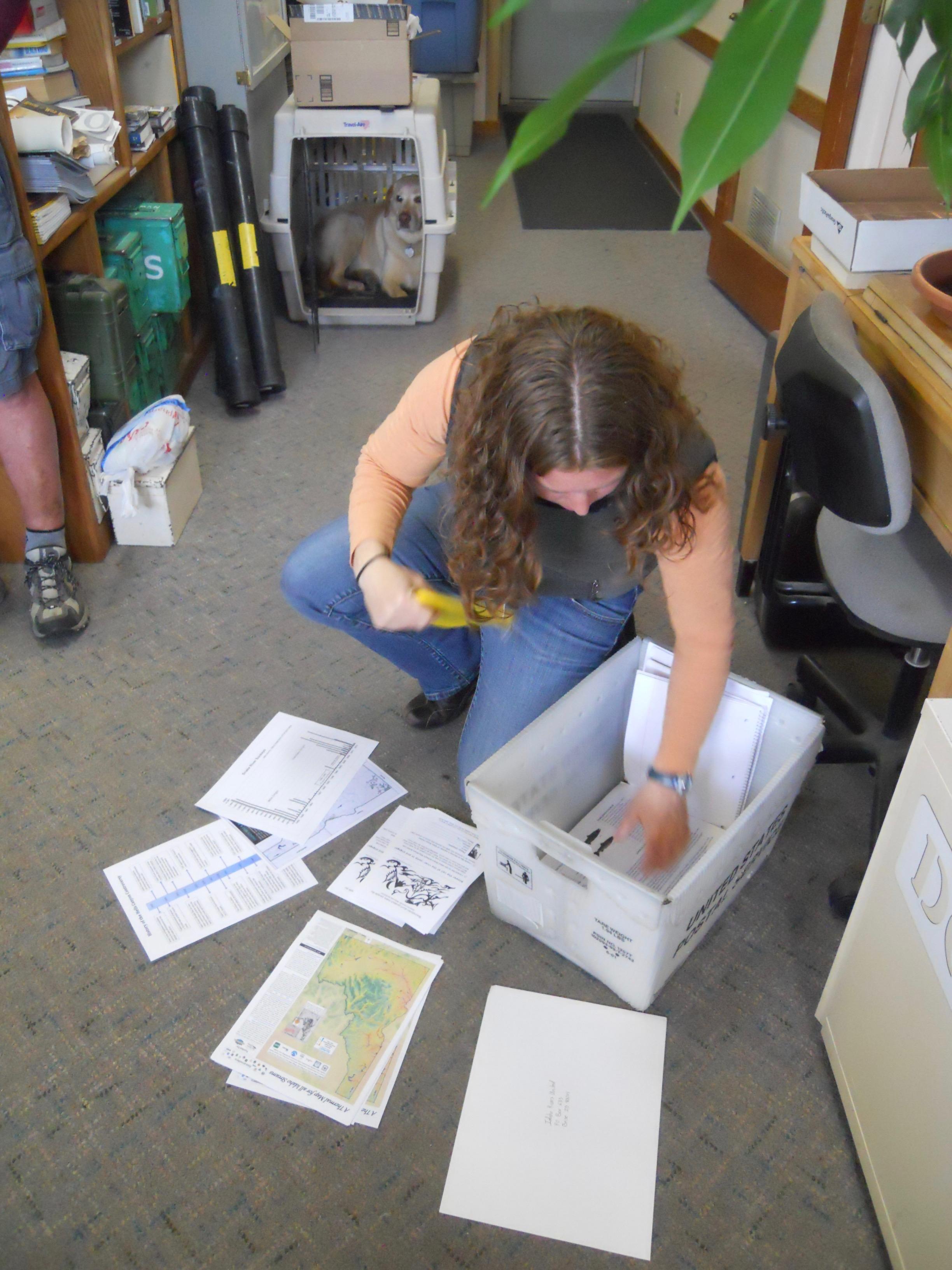 Natalie Shellworth prepares materials for a presentation in north Idaho.