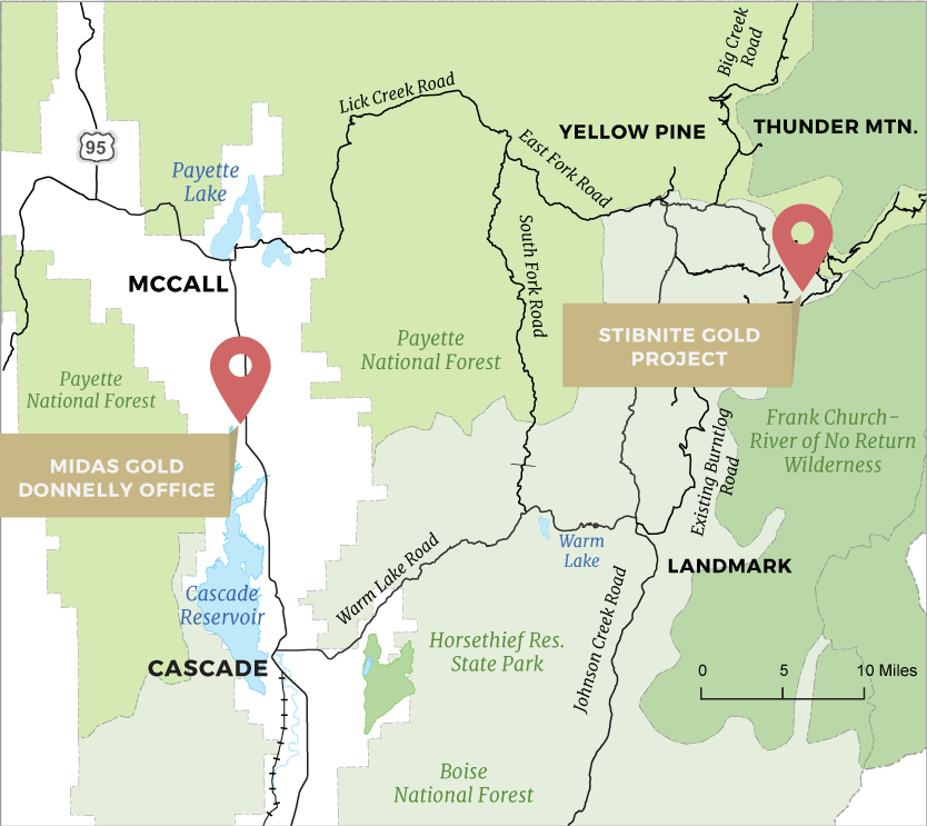 A map showing the location of the Stibnite Gold Project.