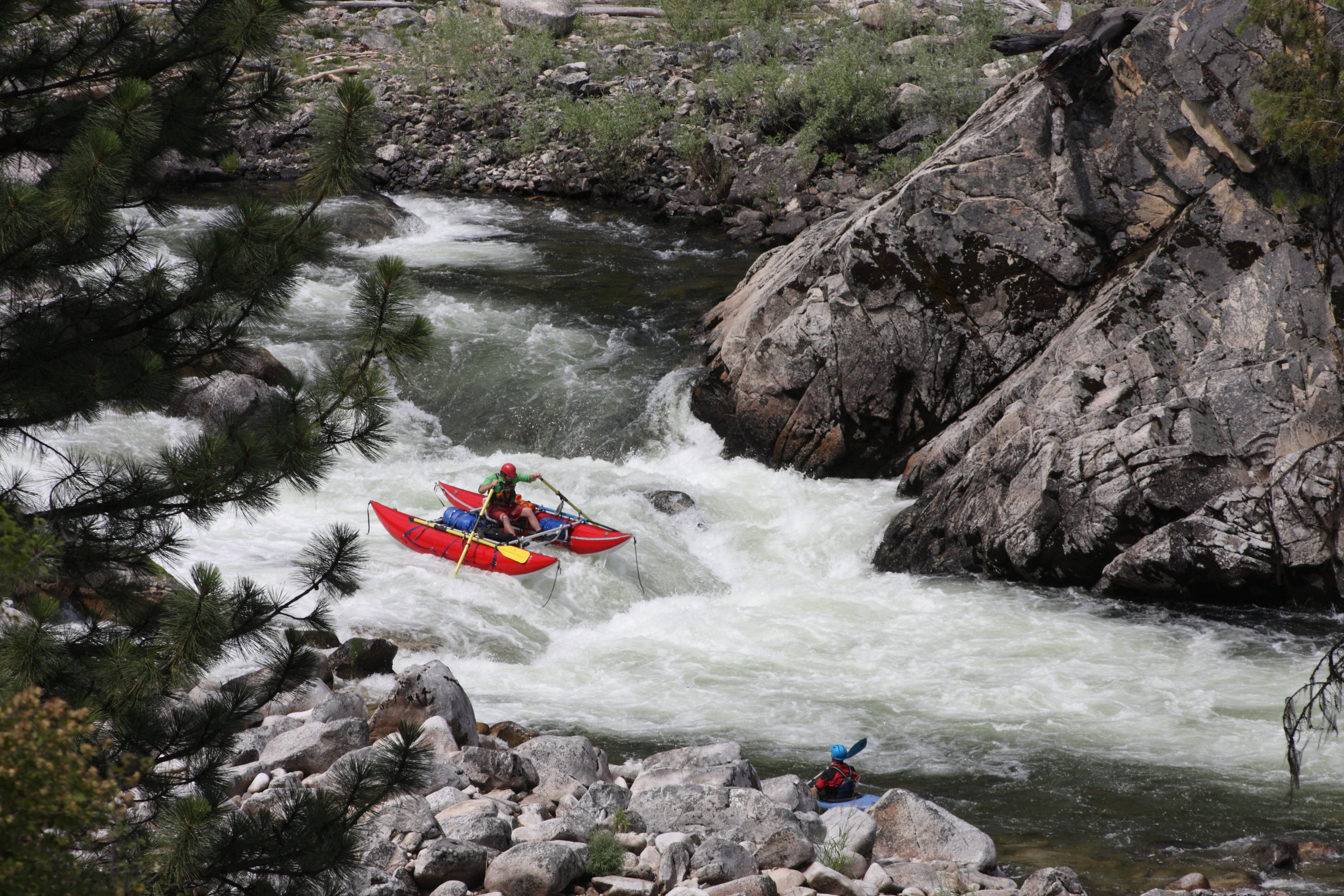 A cataraft navigating the expert waters of the South Fork