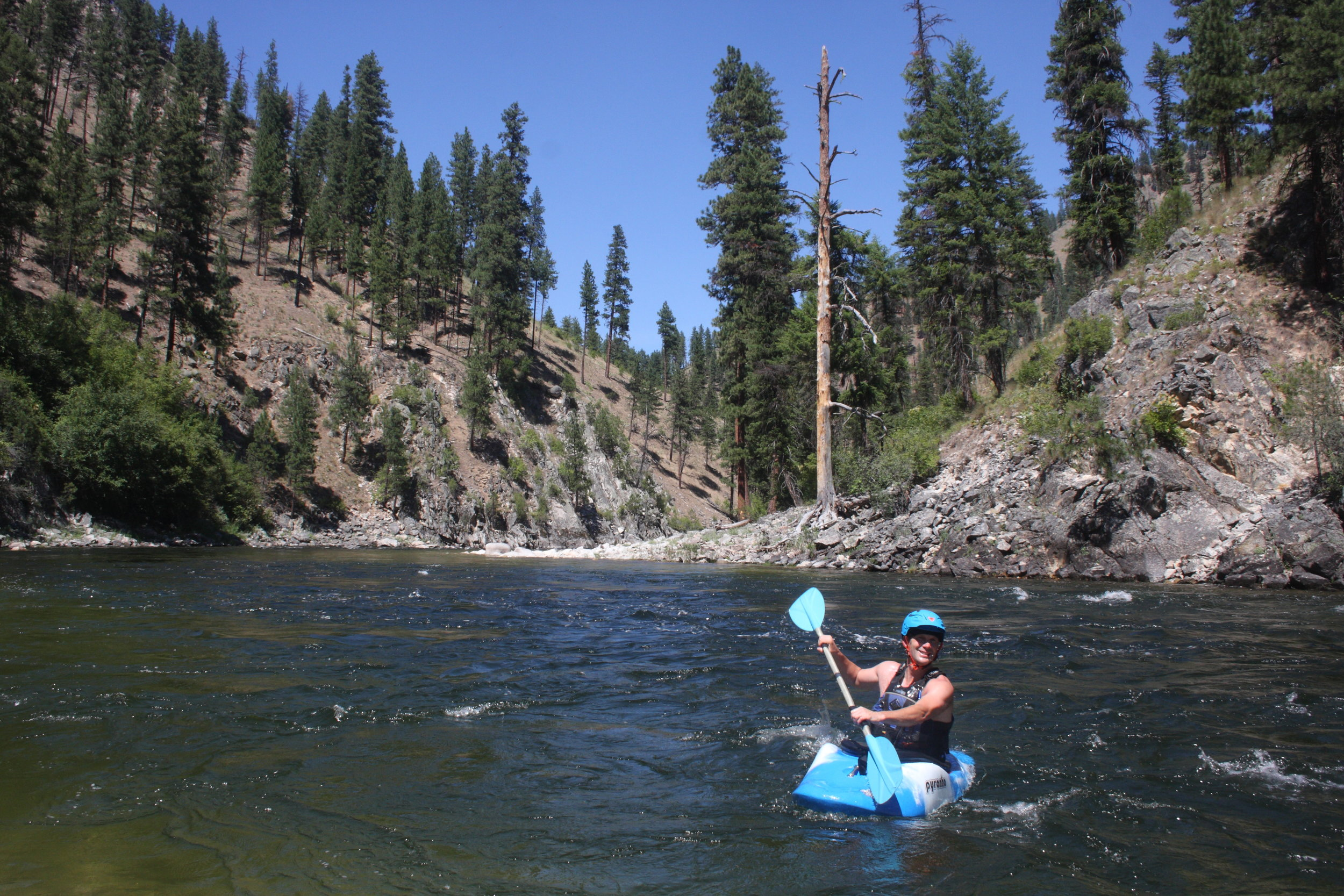 Our Greg Stahl playing in the clean, clear South Fork of the Salmon