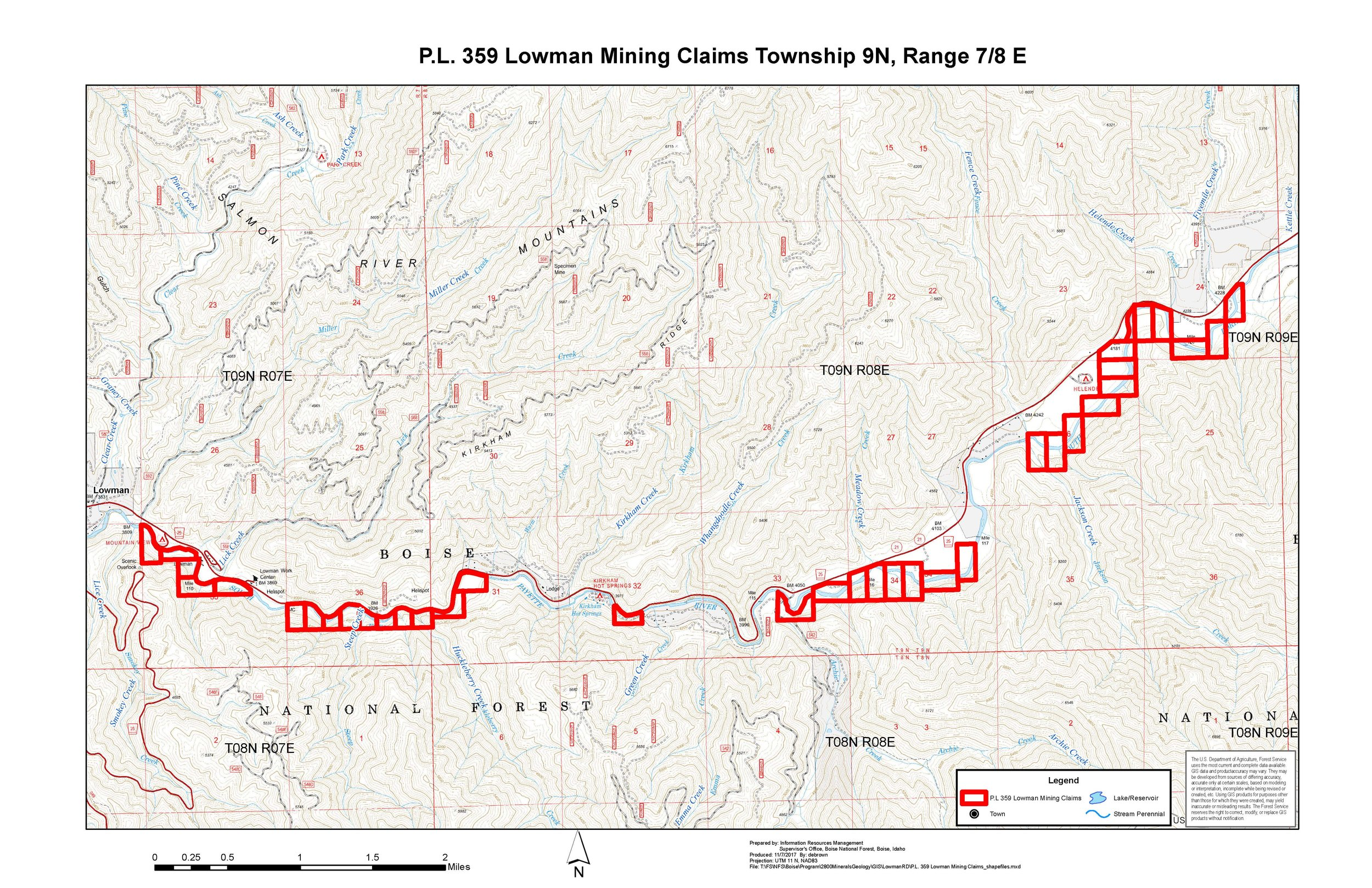 Click to expand the view of proposed mining claims along the South Fork of the Payette River near Lowman.