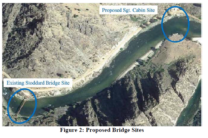 This aireal image shows the existing and proposed sites for rebuilding the Stoddard pack Bridge near the Middle Fork of the Salmon River confluence.