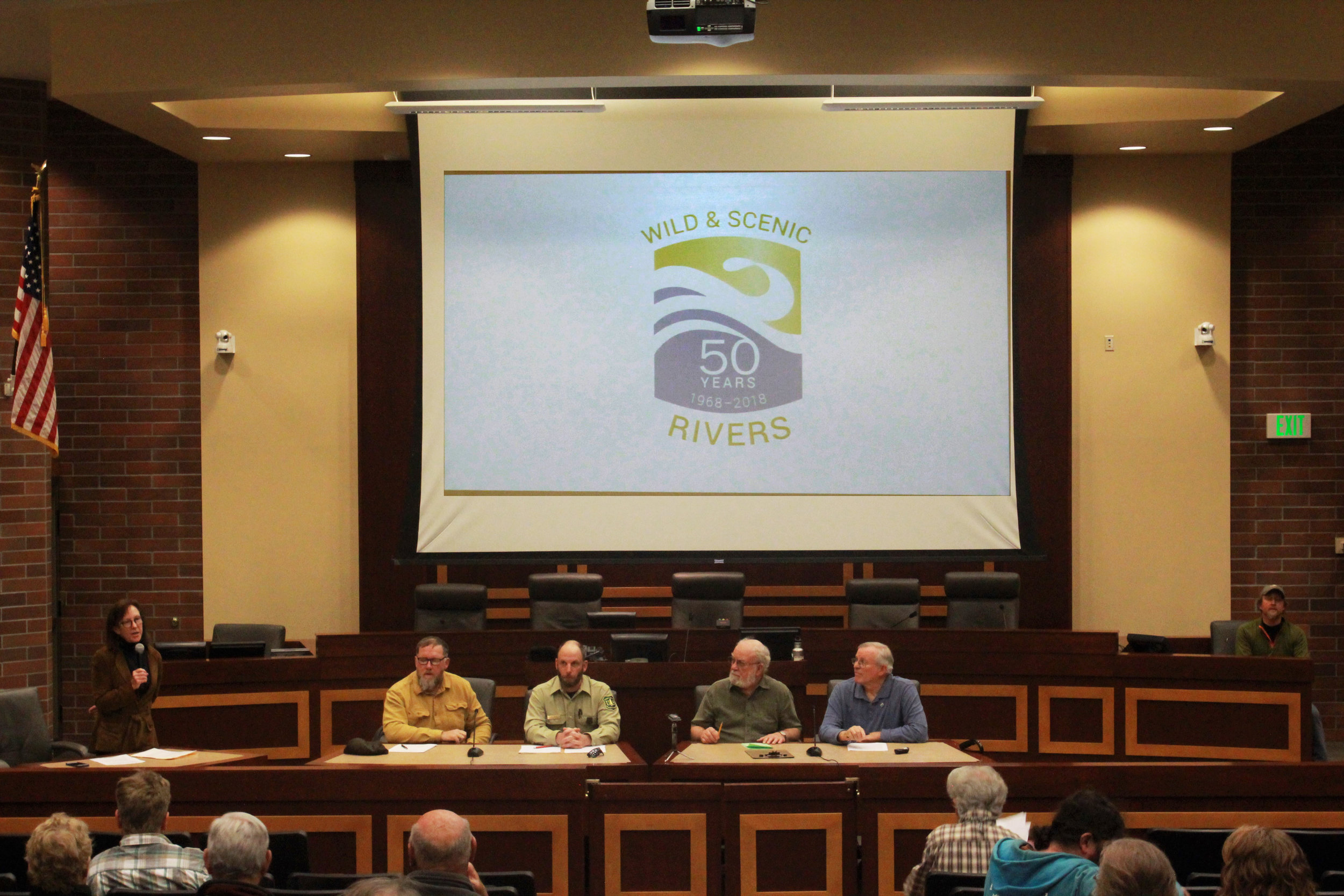 Panelists gather in Moscow, Idaho, to discuss the fiftieth anniversary of the Wild and Scenic Rivers Act. From left to right: Dustin Aherin, Chris Noyes, Linwood Laughey and Kevin Lewis. Photo by Ava Isaacson.