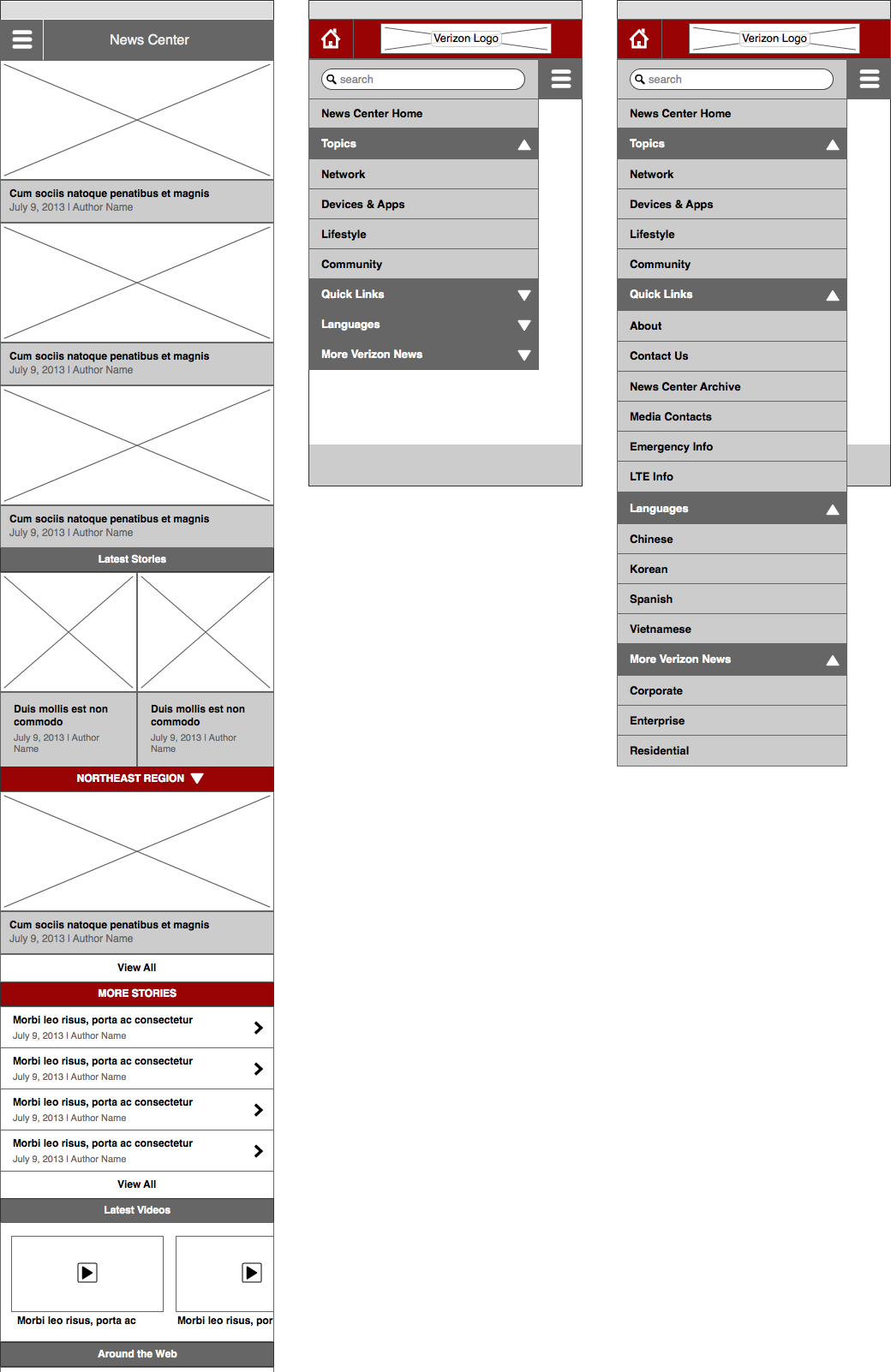 Newsroom Wireframe - Mobile Homepage