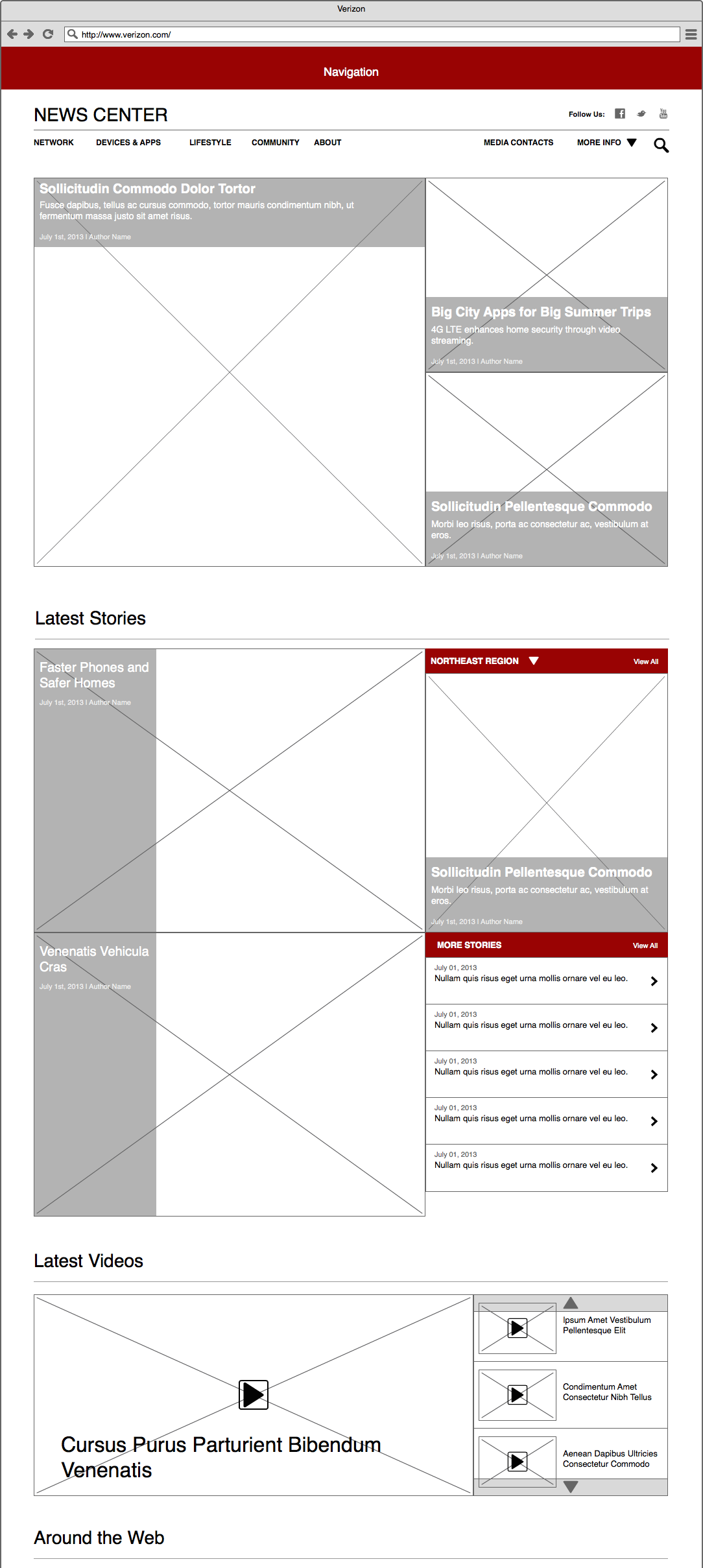 Newsroom Wireframe - Homepage Desktop
