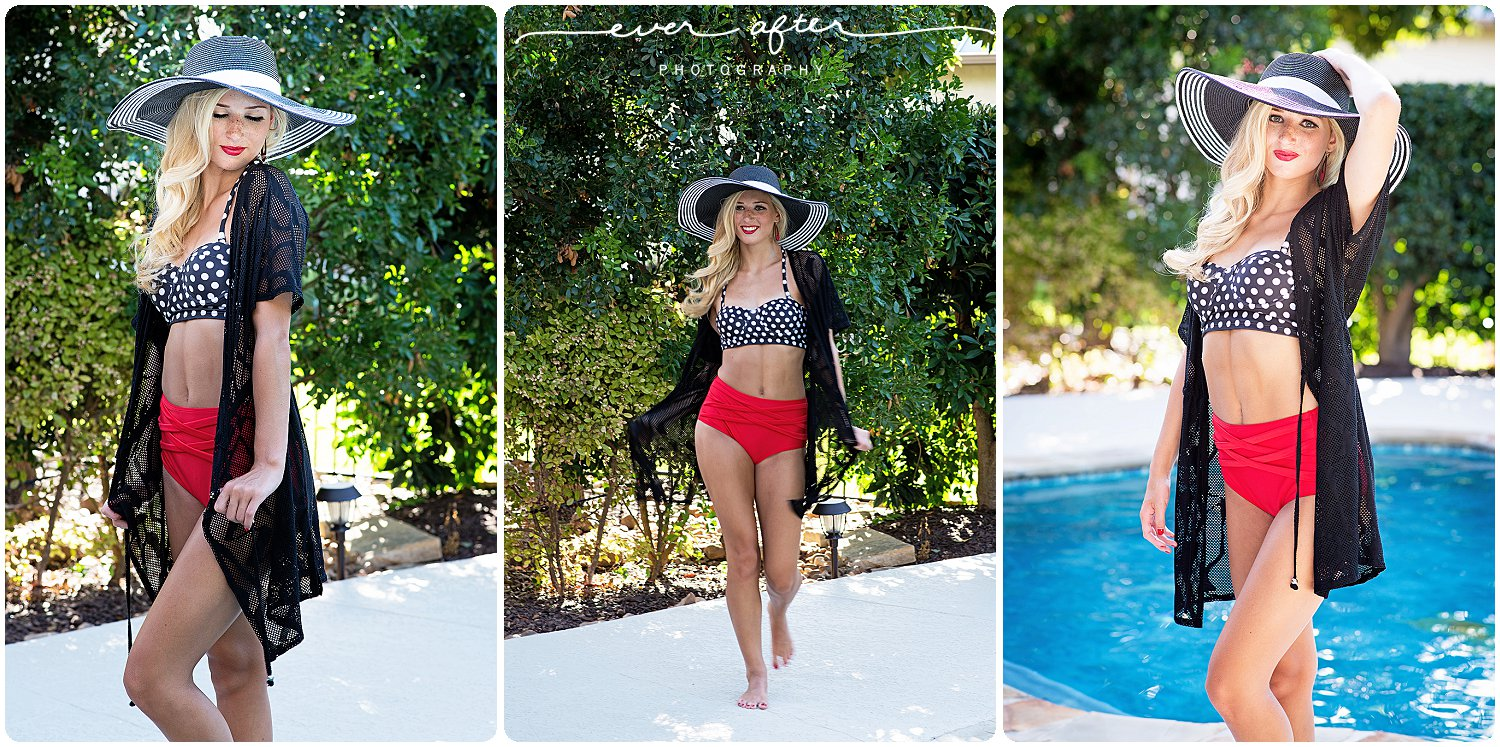Ever After Photography | san antonio senior portraits, san antonio senior pictures, senior pics, best senior portraits, everafter.photography, leah godfredson, styled session, 50's shoot, poolside, black floppy hat, ever after senior model team, class of 2017