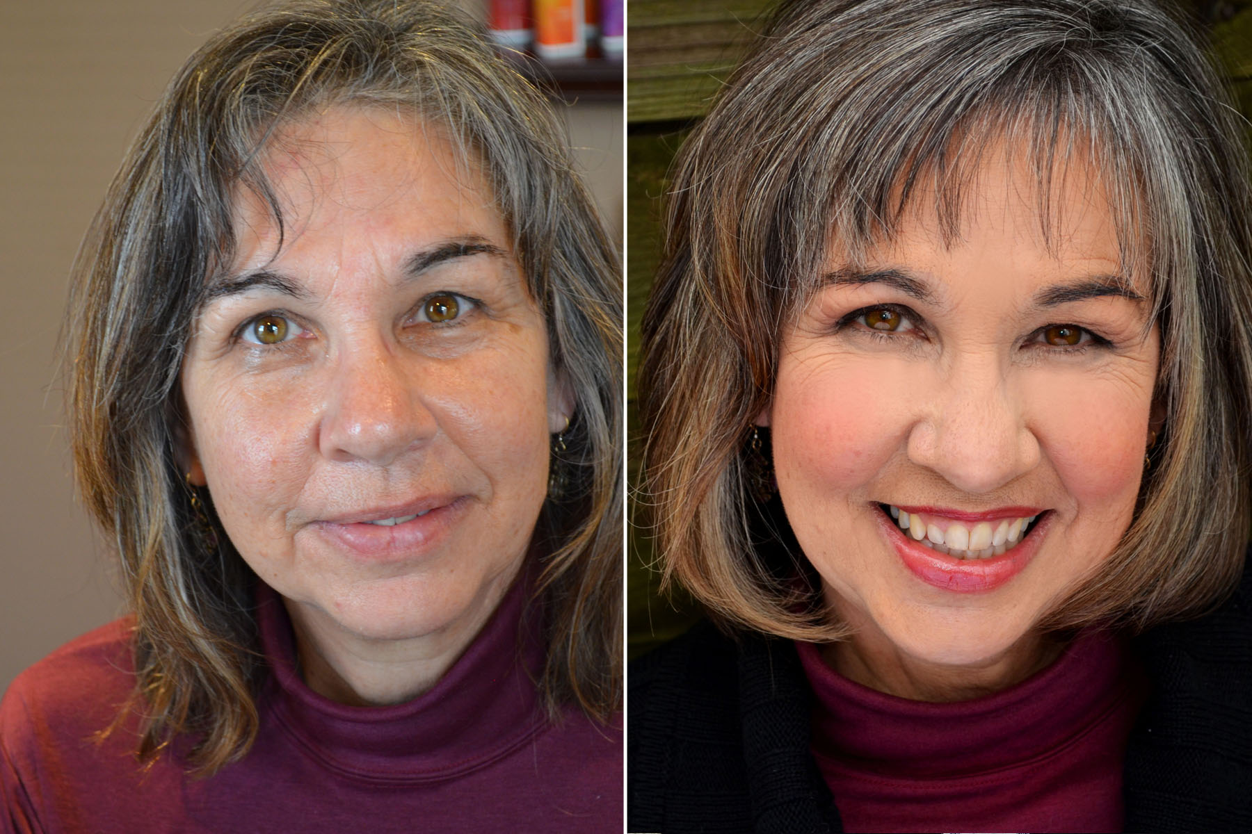 middle aged woman before after hair makeup elizabeth link denver