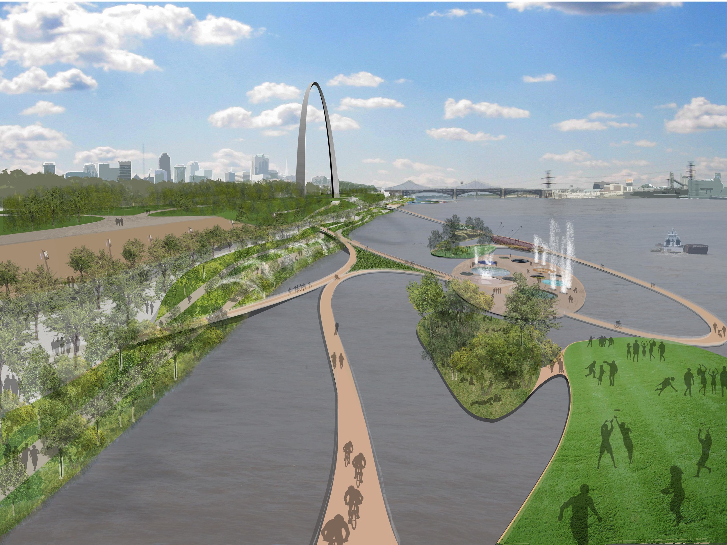 St Louis Waterfront Master Plan, with HOK, Greenberg Consultant , CDG engineers, ABNA Engineering, Consulmar, Moffat and Nichol, Vector Communications,2008