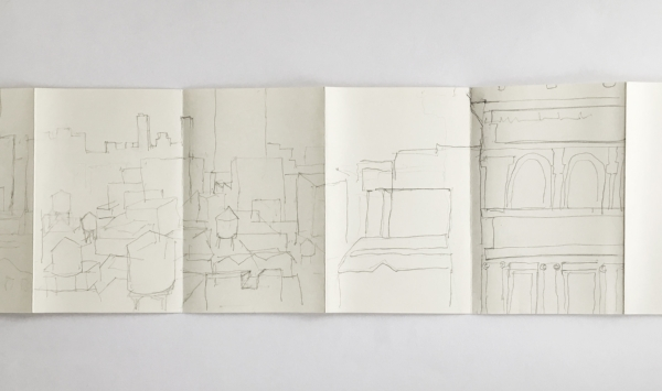 Drawing of the view from her office desk by Diana Balmori, 2015