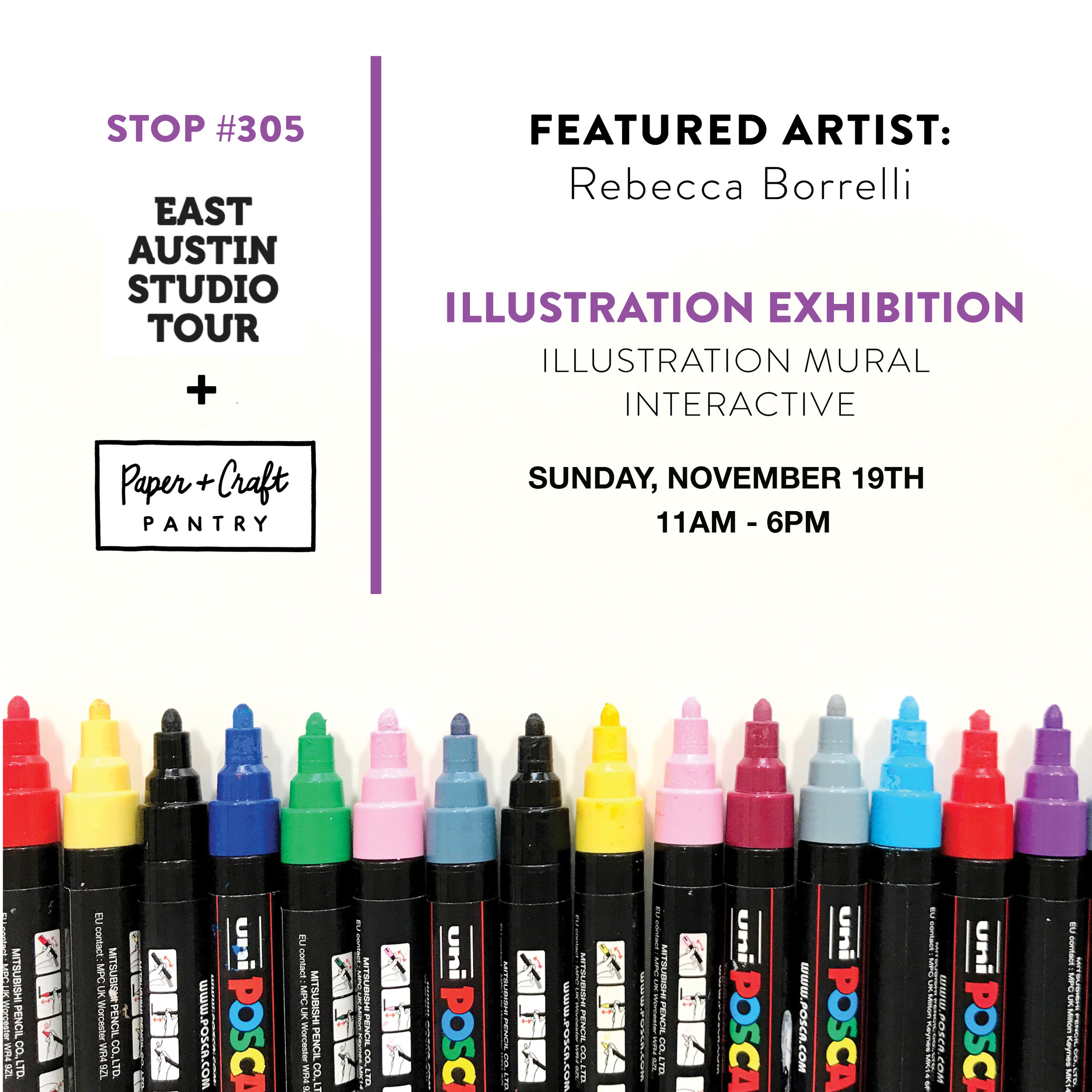 The Paper + Craft Pantry x 2017 East Austin Studio Tour: Illustration + Coloring Interactive and Exhibition