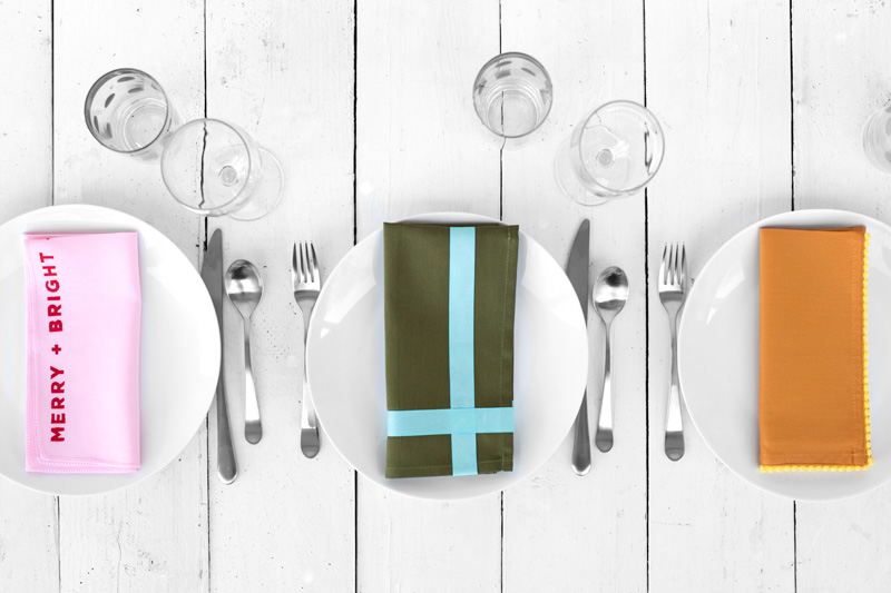 The Paper + Craft Pantry Holiday DIY Round Up- A Beautiful Mess: Dress Up Dinner Napkins