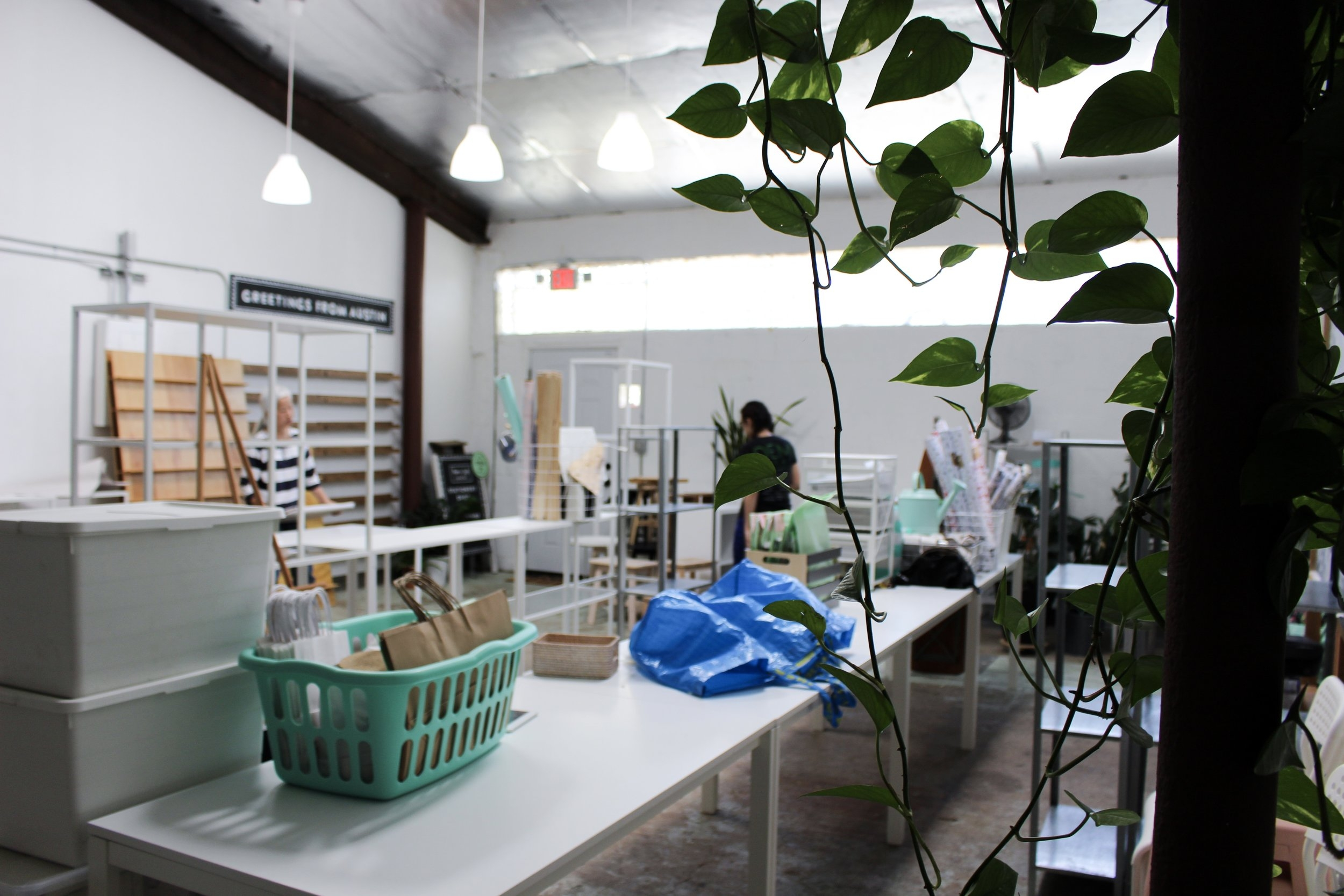 Paper + Craft Pantry Blog: The view of our packing process from the back of the studio.