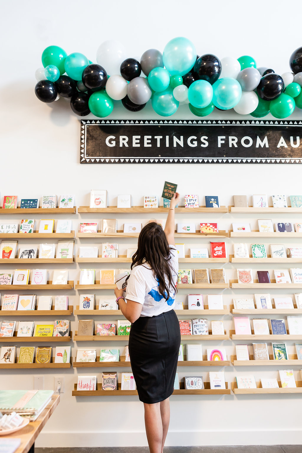 Largest card wall + paper shop in Austin, Texas.