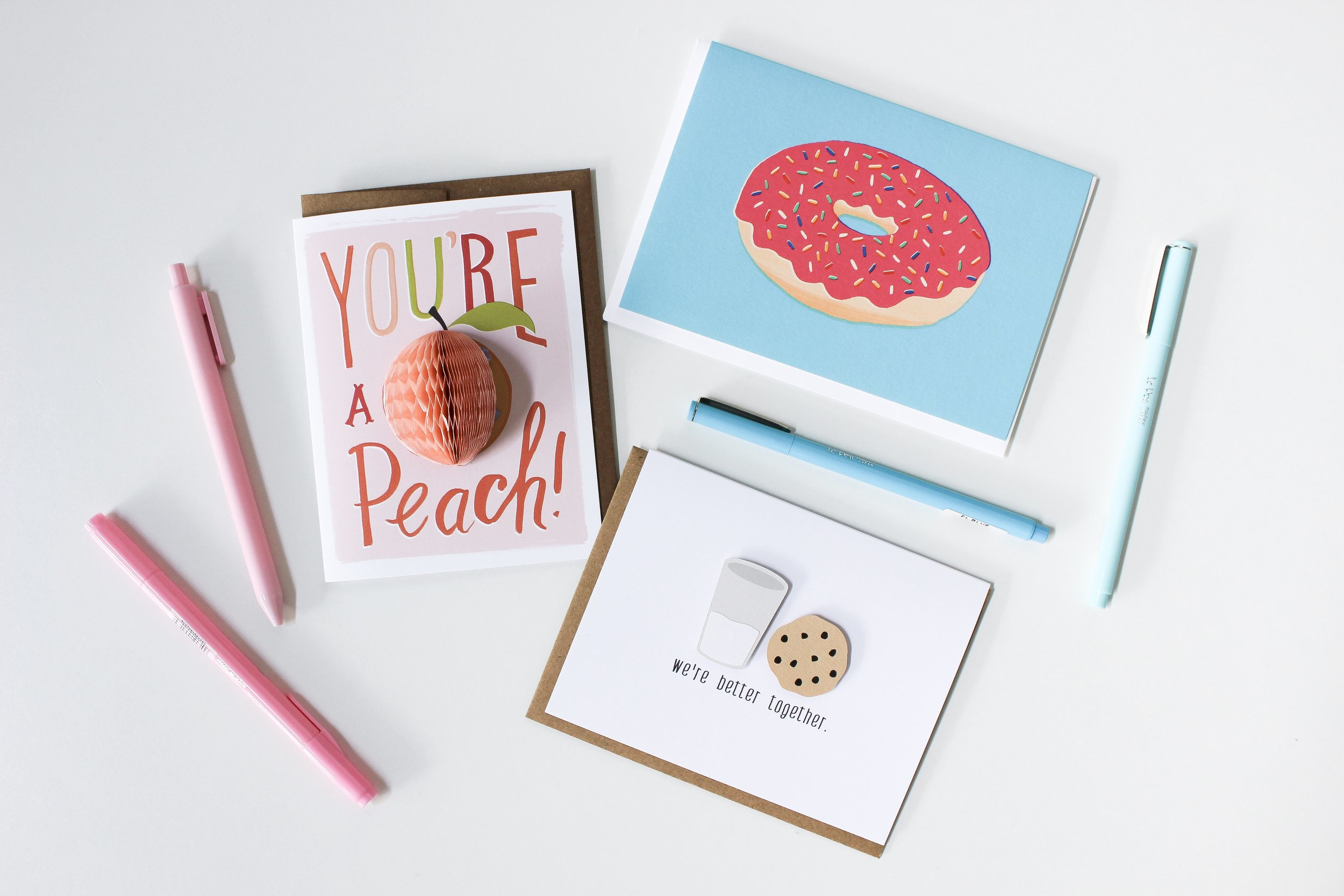 The Paper + Craft Pantry Blog: A 3D peach card, bright pink donut print, and the perfect coupling of a cookie and milk card.