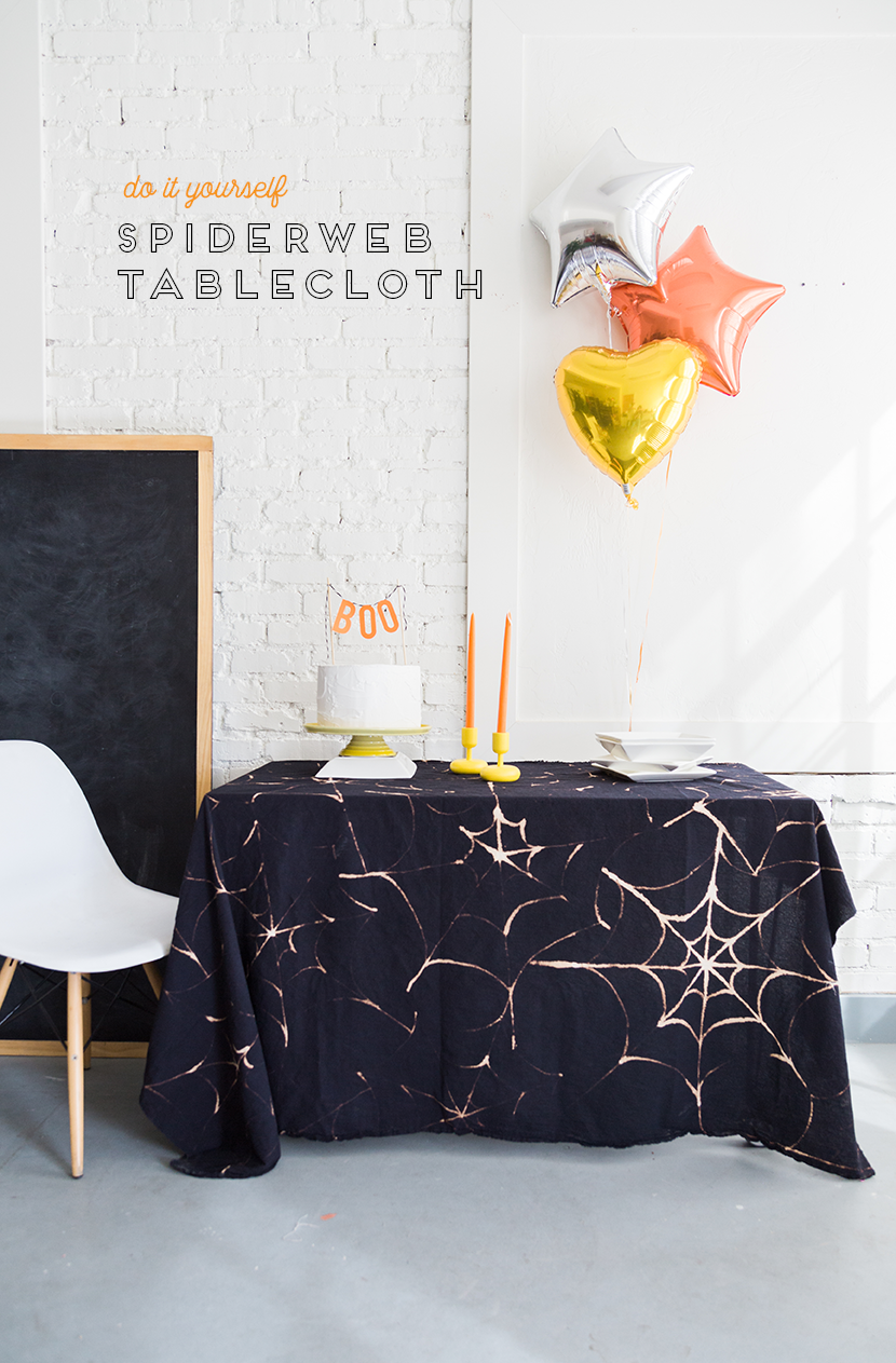 The Paper + Craft Pantry Blog: Spider Web D.I.Y table cloth spread out on a table with other decor.