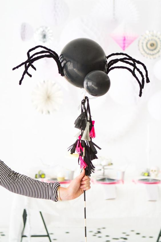 The Paper Craft Pantry Blog: Spider D.I.Y. ballon being used on a stick as a party prop.