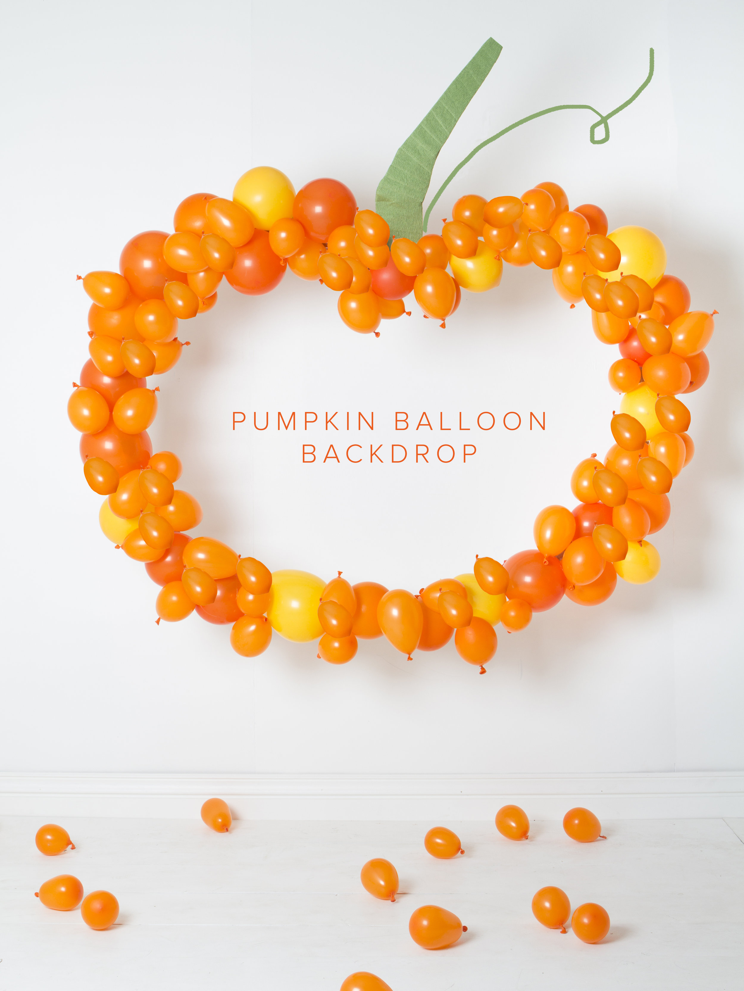 The Paper + Craft Pantry Blog: Pumpkin ballon backdrop hung up on a large wall making for the perfect photo wall.