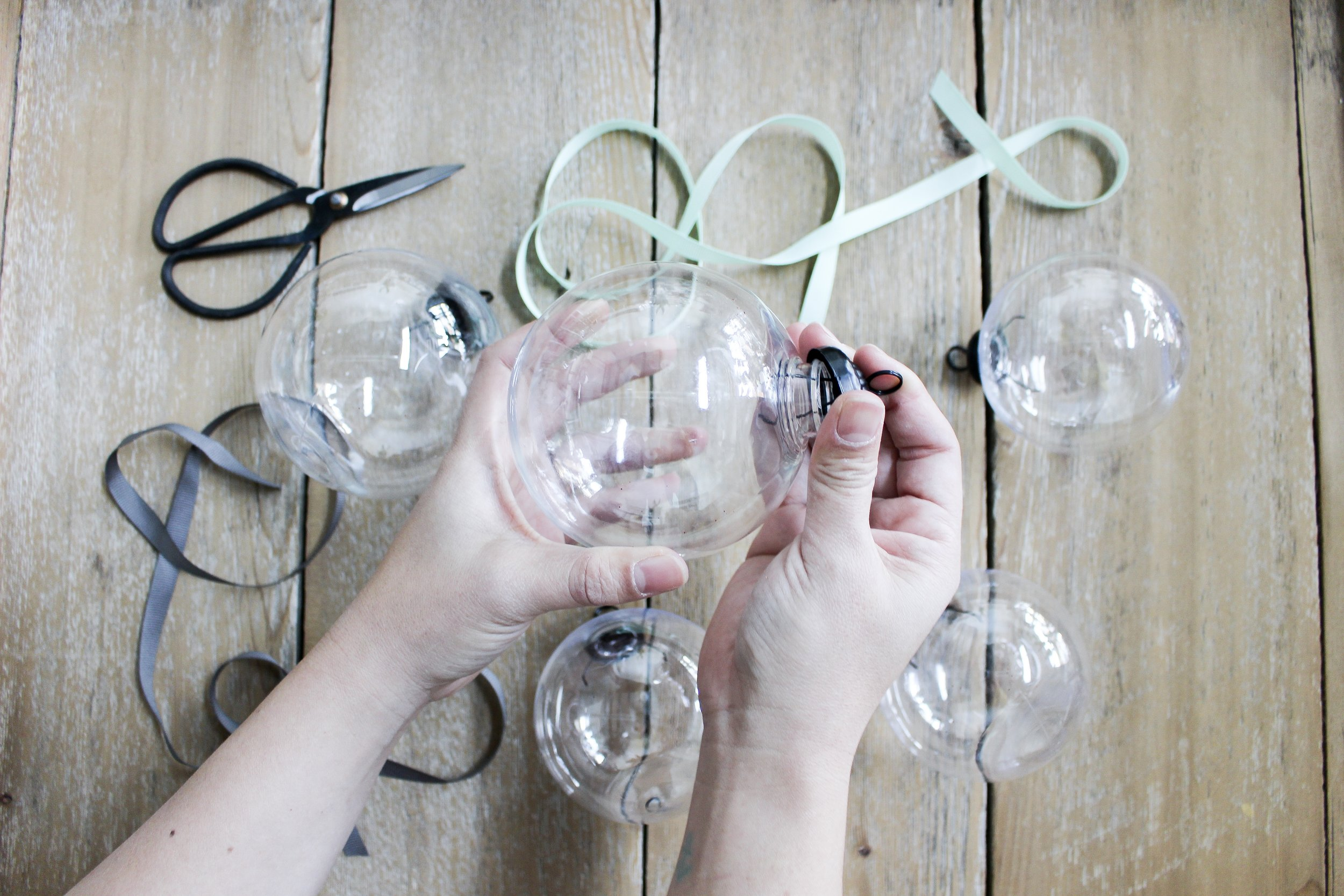 The Paper + Craft Pantry BLOG: Threading new ribbon for our 5 clear ornaments.