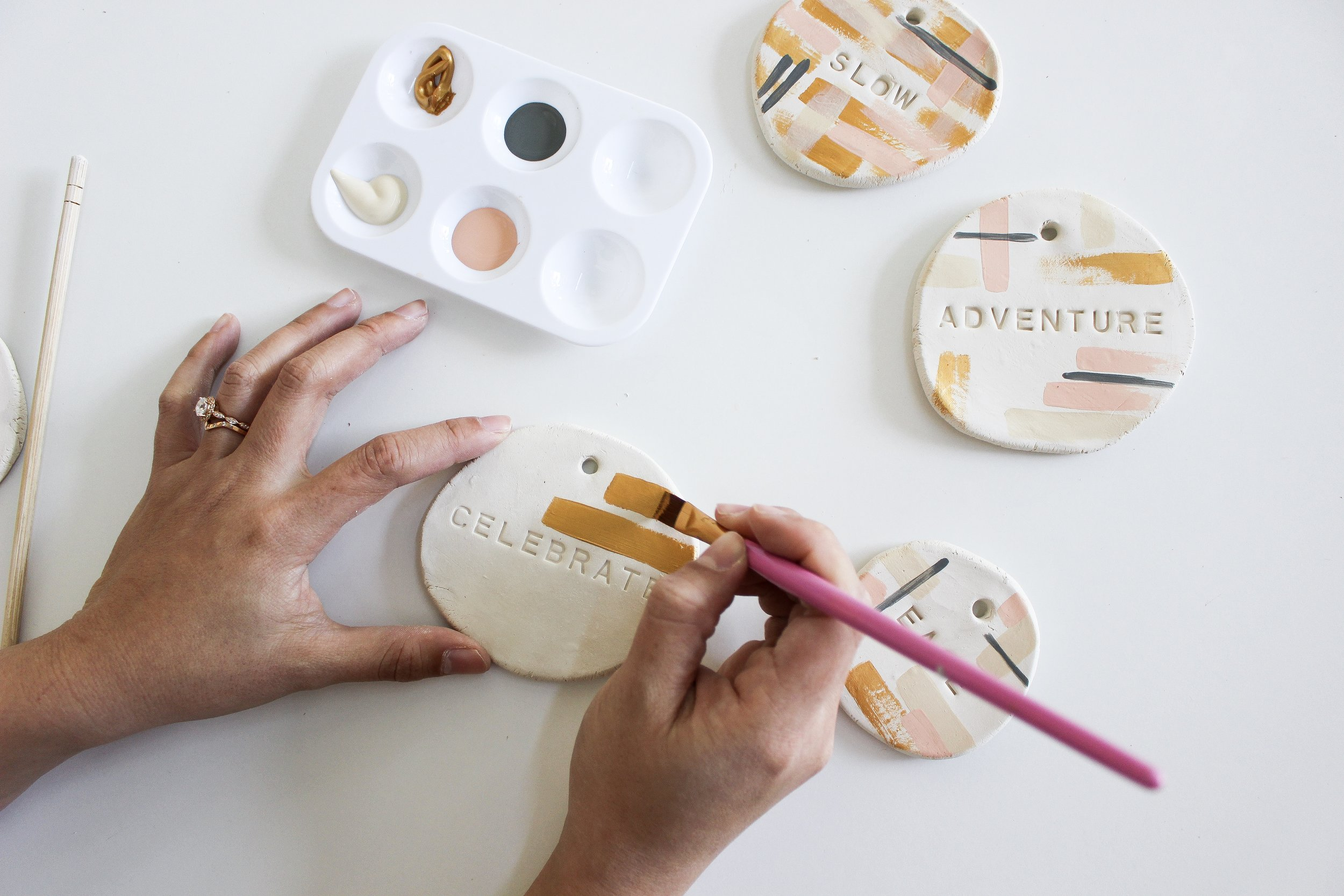 The Paper + Craft Pantry Blog: Painting our dried clay pieces.