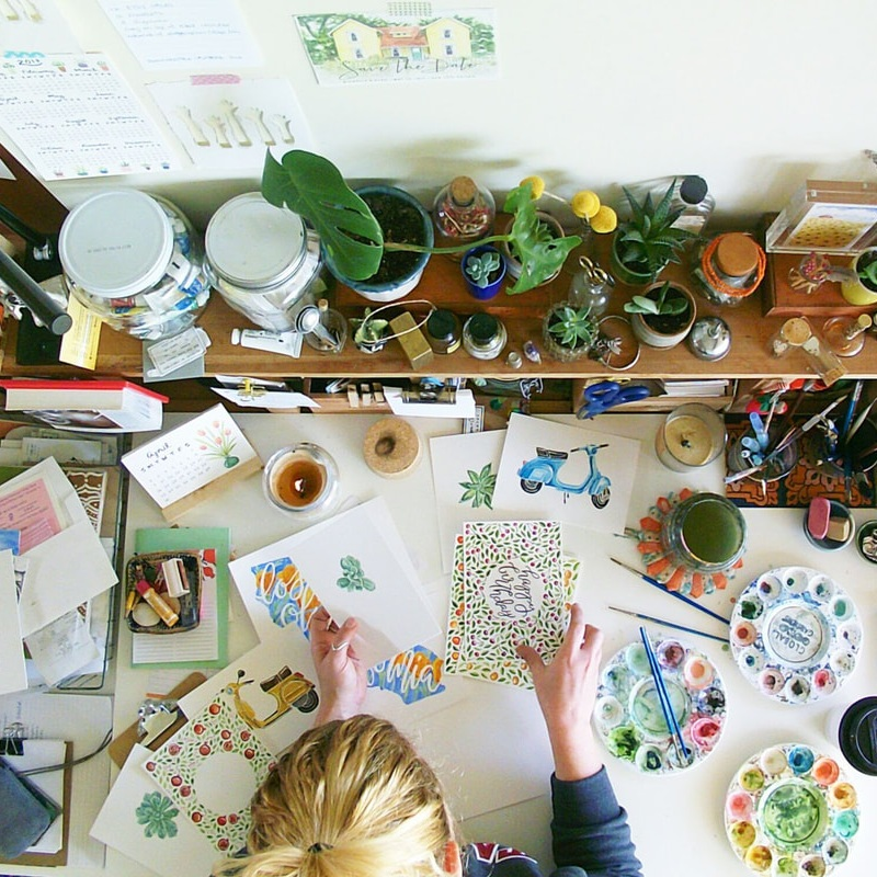 The Paper + Craft Pantry Blog: Sketchy Notions desk scene.