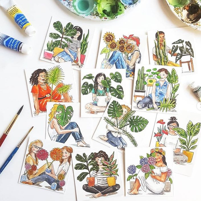 The Paper + Craft Pantry Blog: Chelsea loves to sketch and watercolor all of her fellow plant loving friends!
