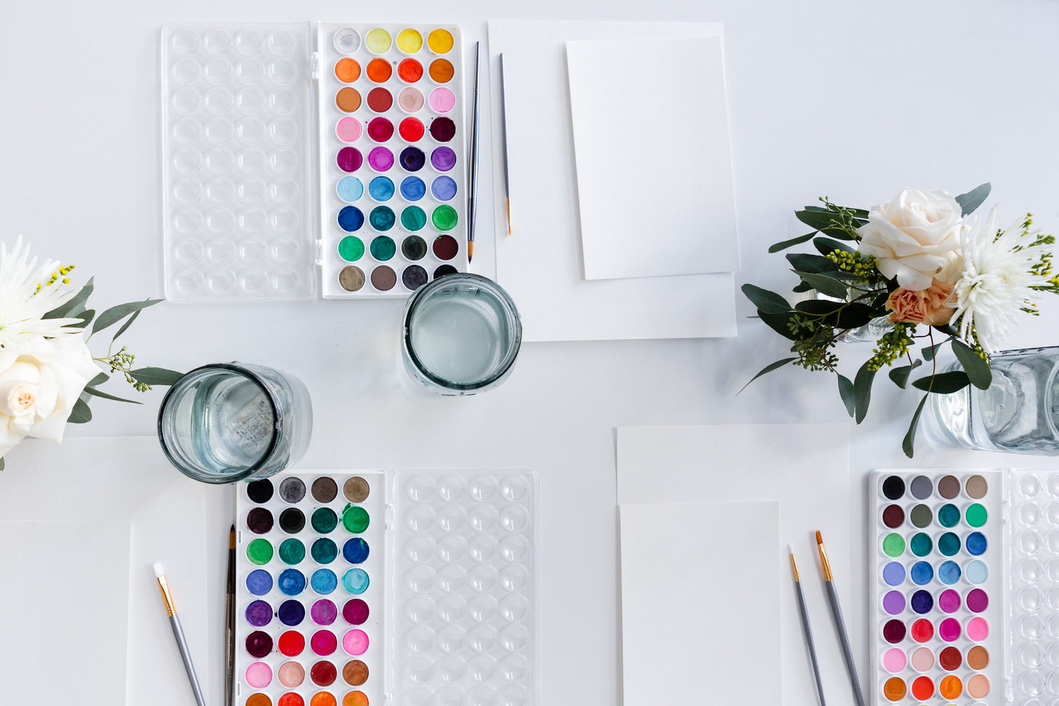 The Paper + Craft Pantry Blog: Watercolor floral workshop supplies.