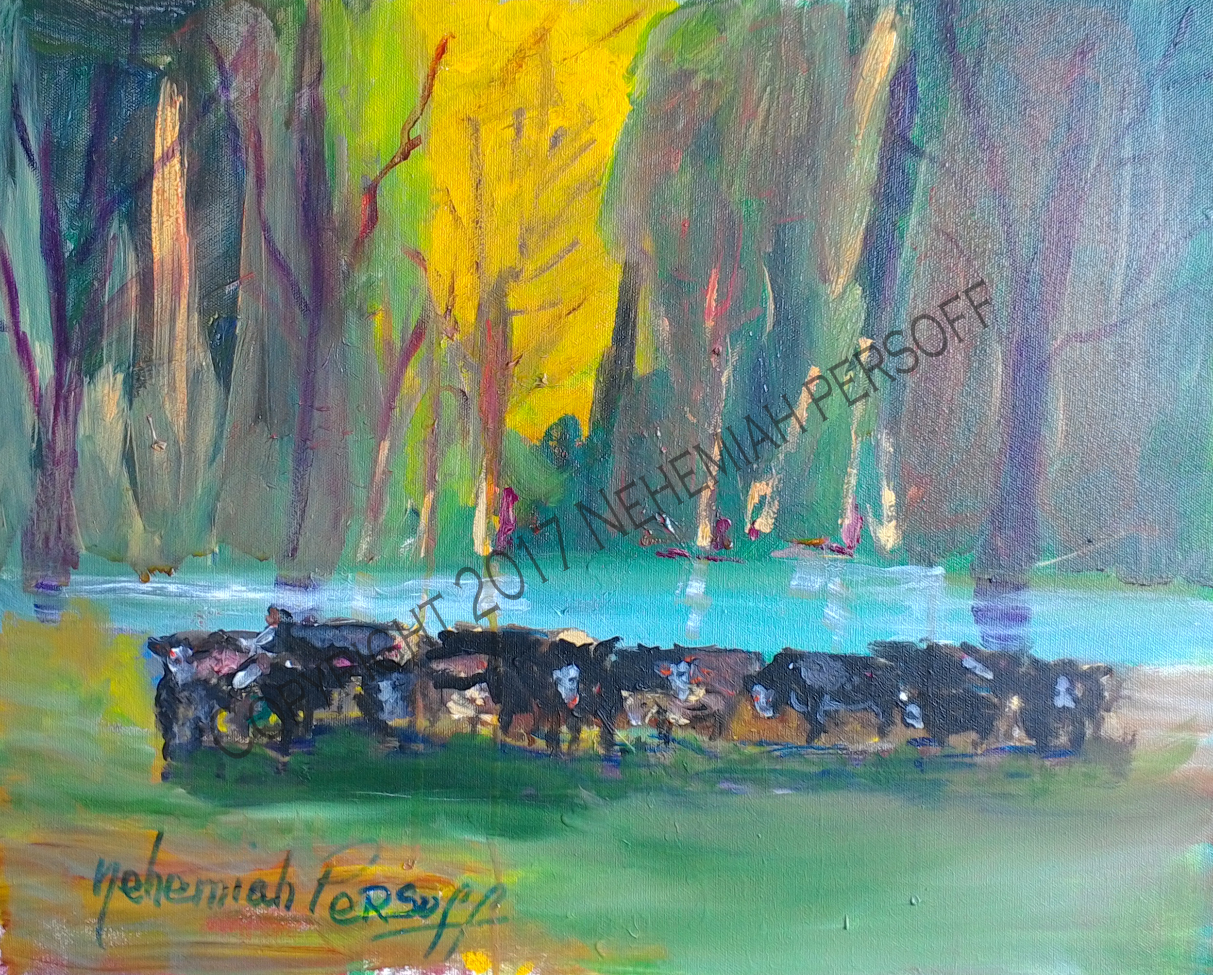 """Cows"", Oil on Masonite (20x40) $1500"