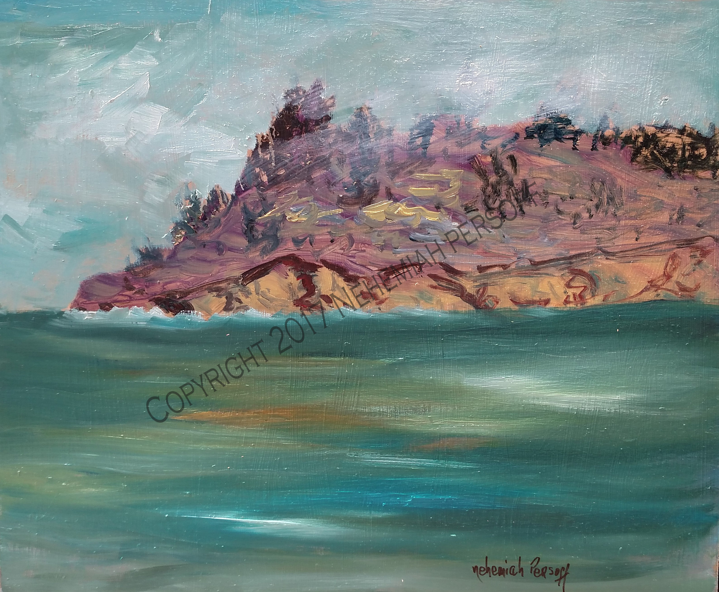 """San Simeon Promontory"", Oil on Masonite (20x24) $1250"
