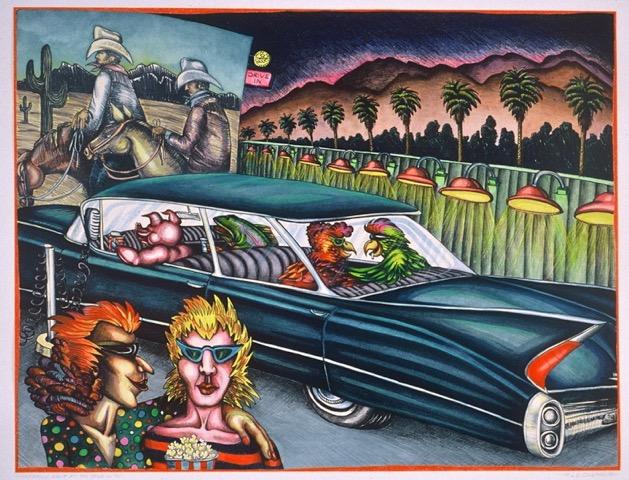"Lynn Cloleman, 1980,  Family Night at the Drive-in, Mixed Media/Watercolor, 28"" x 22"""