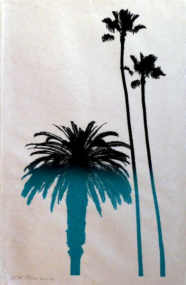 Frank Romero,  Palm Trees , 2016, Serigraph on Bhutanese paper