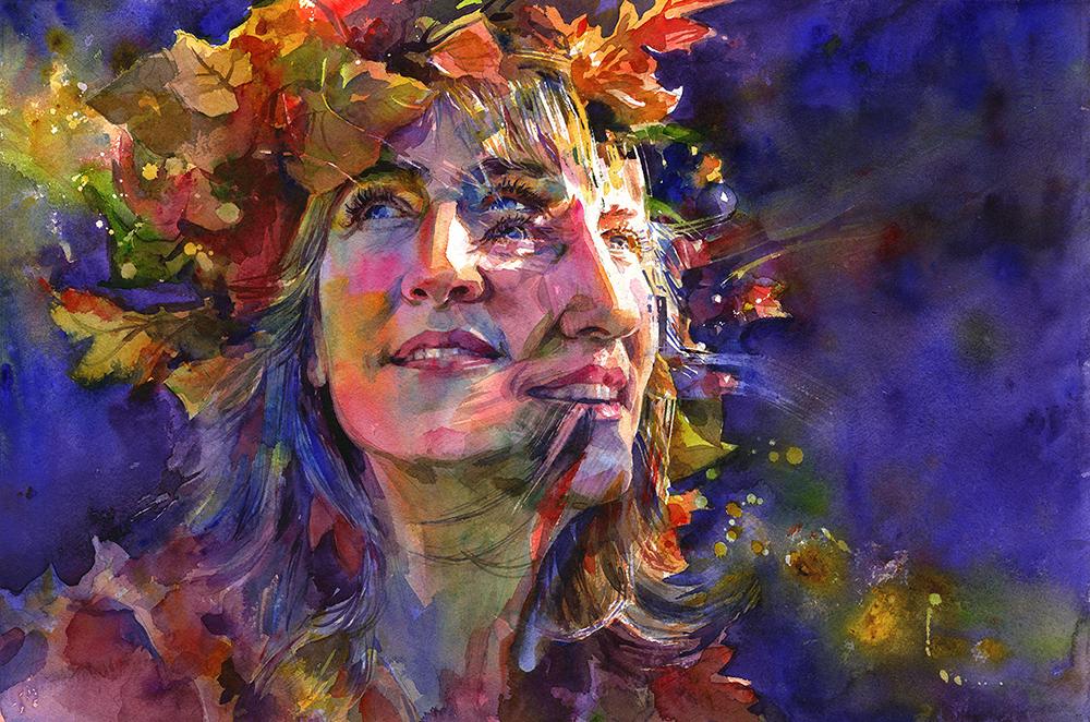 "Joanna Barnum,  Aurelia , Watercolor on canvas, 15"" x 22"""