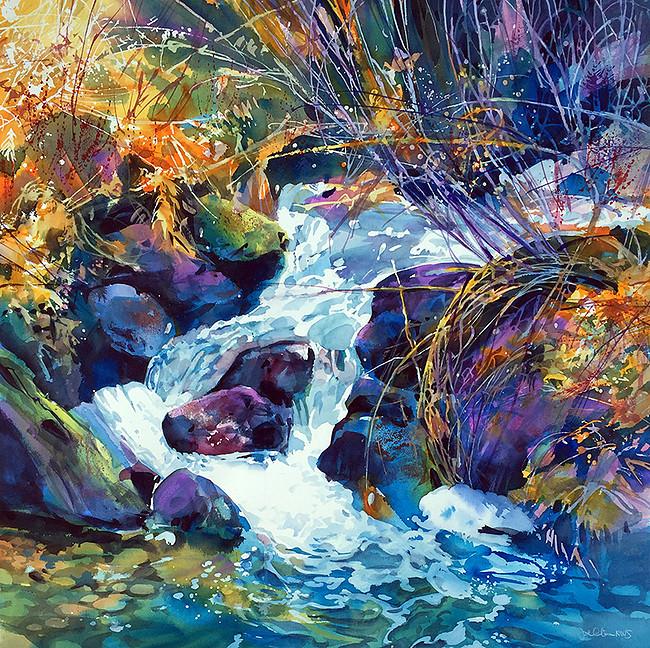 "Image credit: Joe Cibere, River Stream , Transparent watercolor on paper, 36"" x 36"""