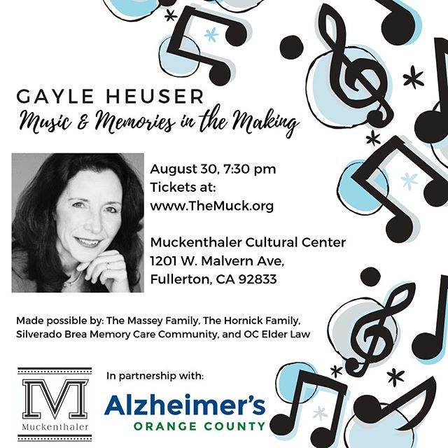 We are thrilled to partner with @alzorangecounty for a concert this Friday!  Soprano Gayle Heuser returns to our stage to perform selections from opera and other styles in order to raise awareness for people living with Alzheimer's.  #alzheimersawareness #alzheimersorangecounty #endalz #memoriesinthemaking #alzheimersawareness💜 #muckenthaler