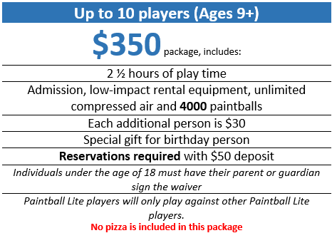 Paintball Lite Birthday Party for ages 9+ (up to 10 players)  $350 package, includes:  Two and a half hour of play time, admission, low-impact rental equipment, unlimited compressed air, and 4000 paintballs