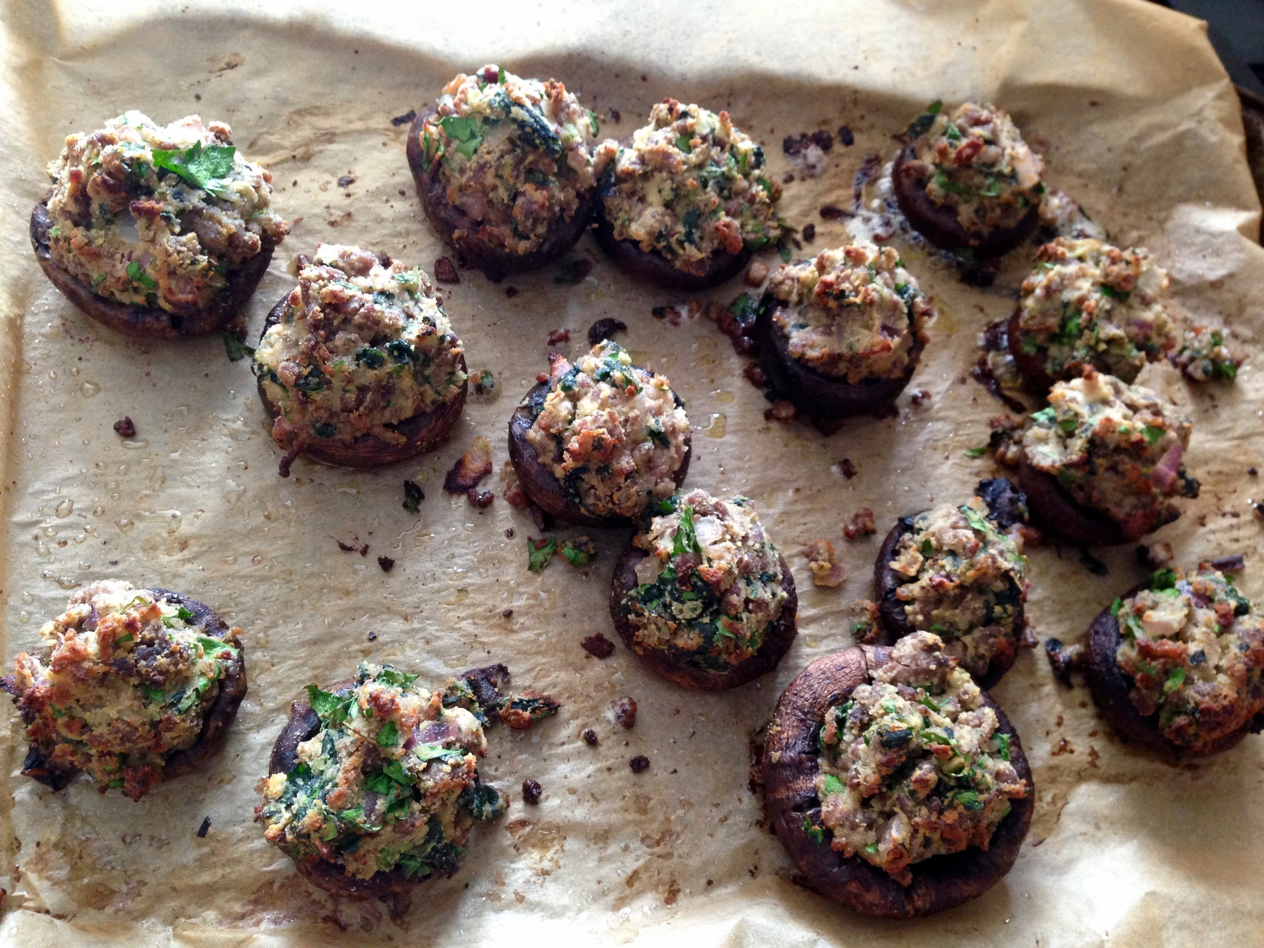 These stuffed mushroom caps made a wonderful app, snack, or (if you make them portobello mushrooms) entree!