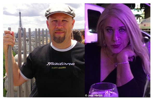 Left:Jeff Herbst vacationing in Paris.Right: Jess Herbst vacationing in Madrid in 2016.
