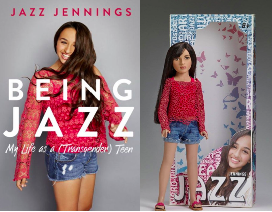 Jazz Jennings on the cover of her memoir and one of the versions of the Jazz doll.