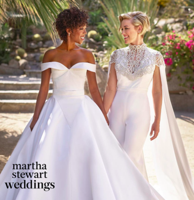 First exclusive picture of Samira and Lauren at their Palm Springs wedding                dressed in custom Christian Siriano pieces.