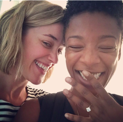 """The couple announced their engagement on Instagram with Samira showing off her         asscher-cut diamond and yellow-gold ring and the caption, """"Yes."""""""