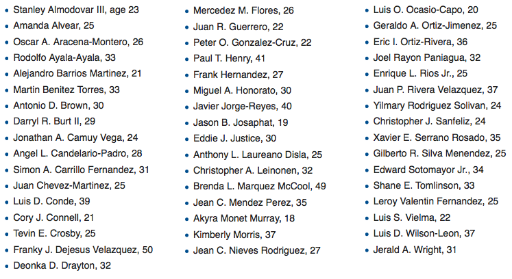 The names of the victims released by the City of Orlando.