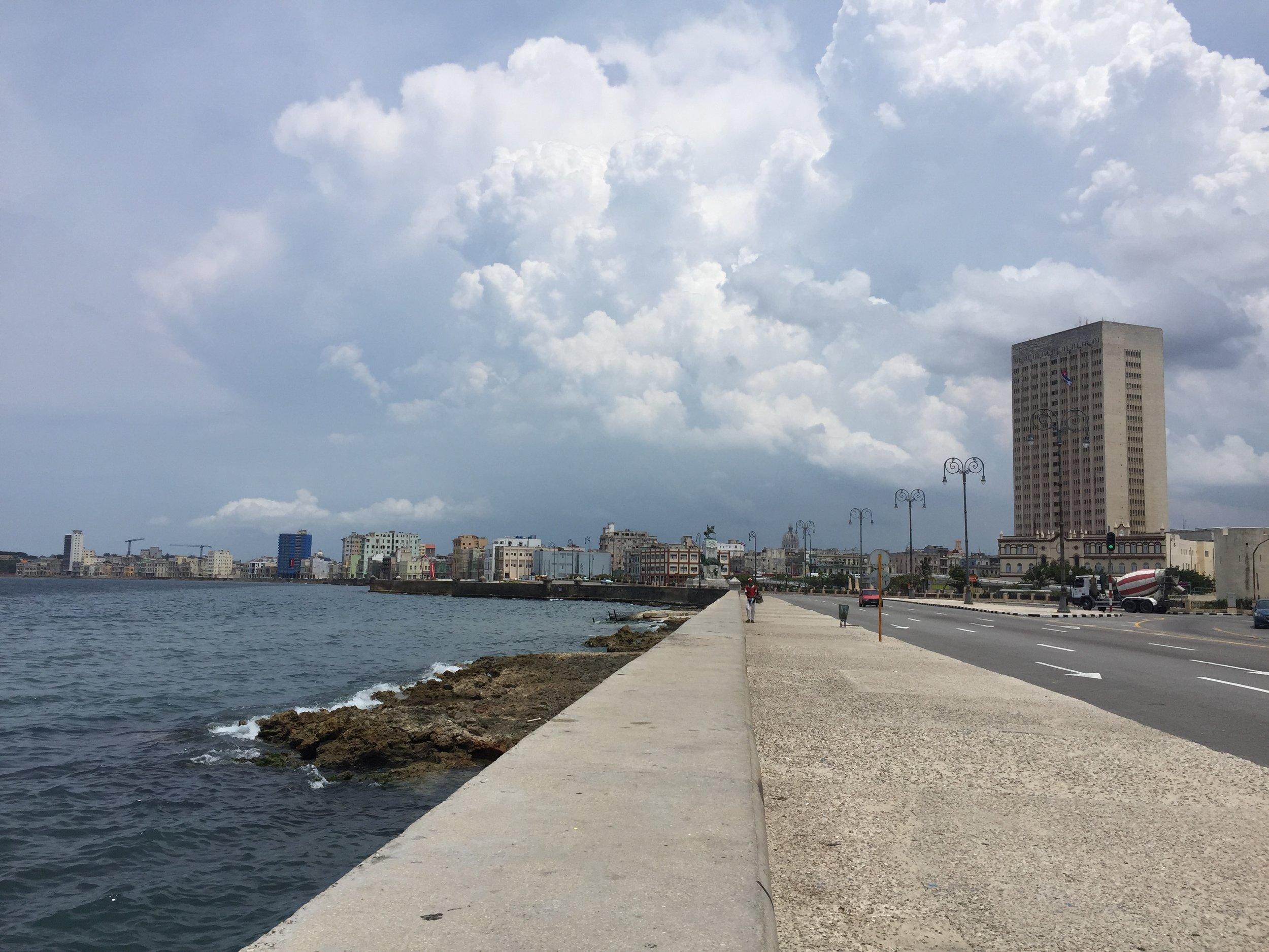 Looking toward Centro and Habana Vieja from the Malecón
