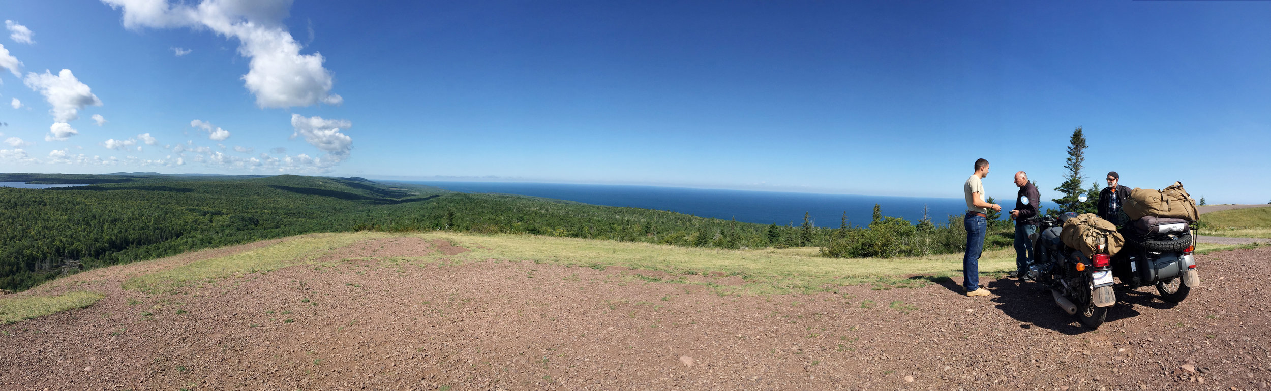 Overlooking Lake Superior in Copper Harbor, MI - Chatting with a few other bikers