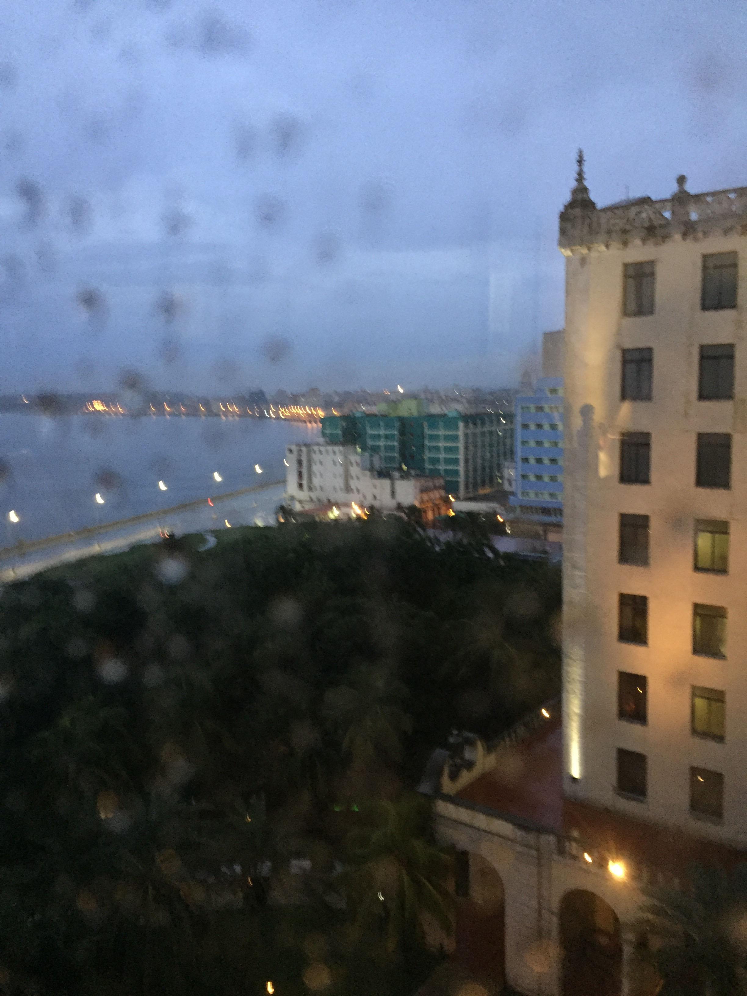 A rainy first night's view from my room. (Looking eastward toward Centro and Habana Vieja)