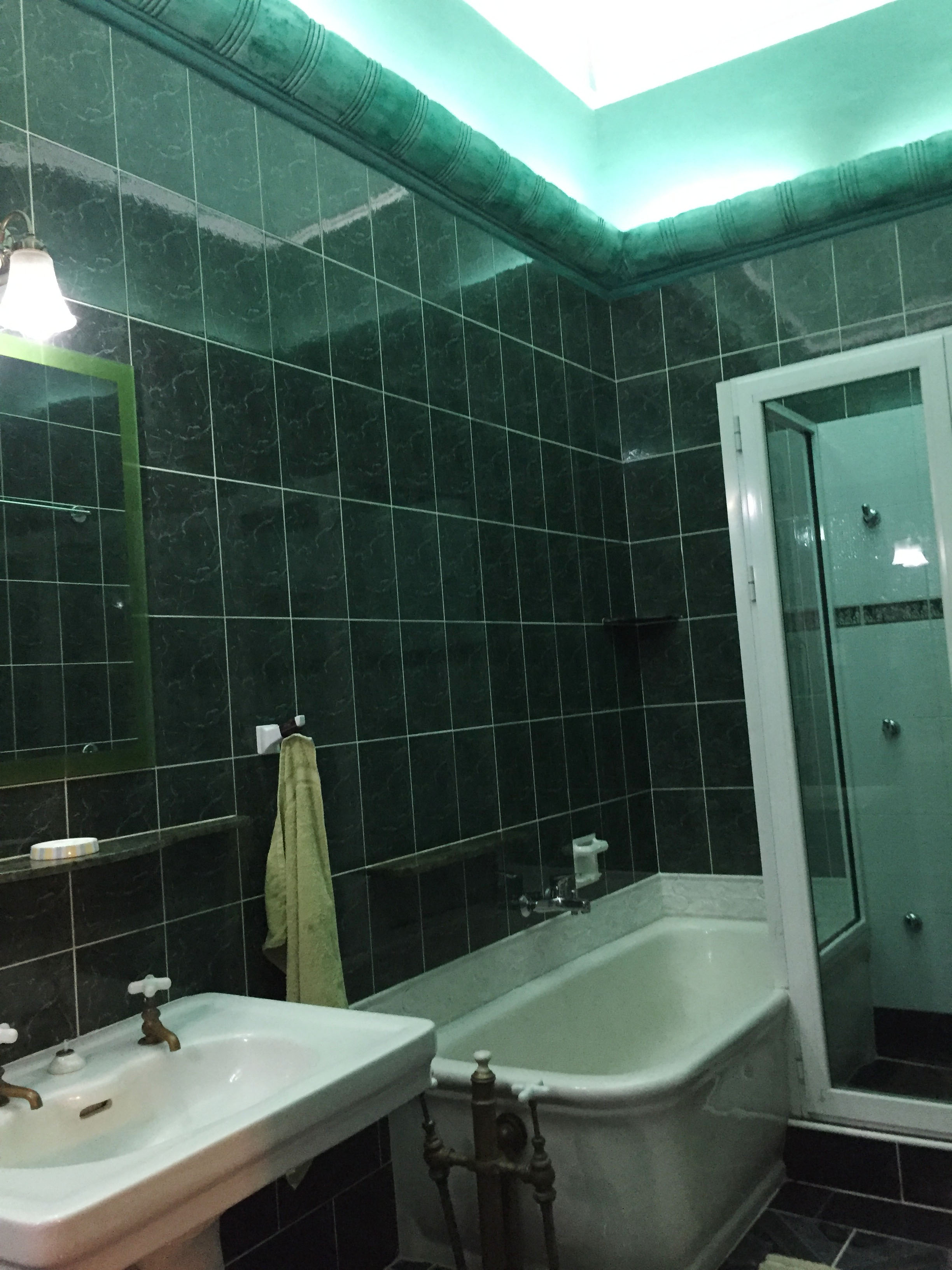 """My green bathroom (: I think the plan is to remodel it in a more """"Spanish Colonial"""" style fitting with the rest of the home."""
