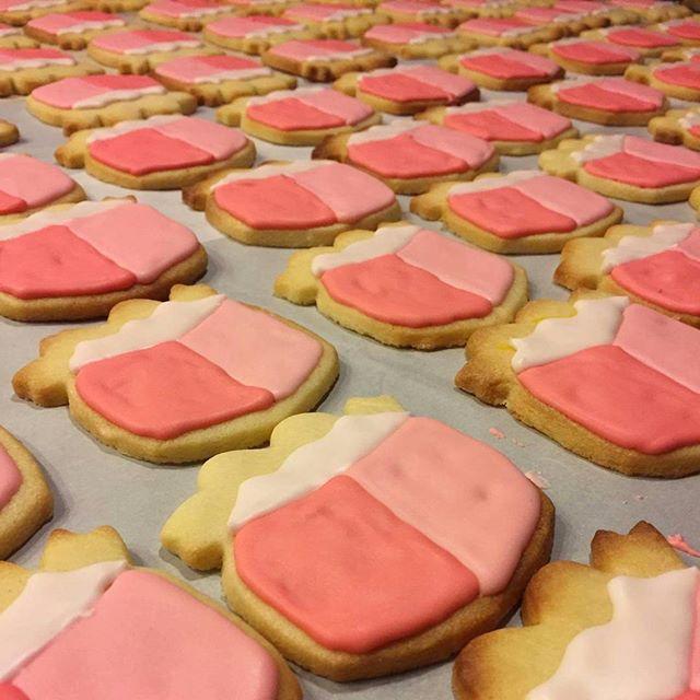 Birthday cookies in progress.