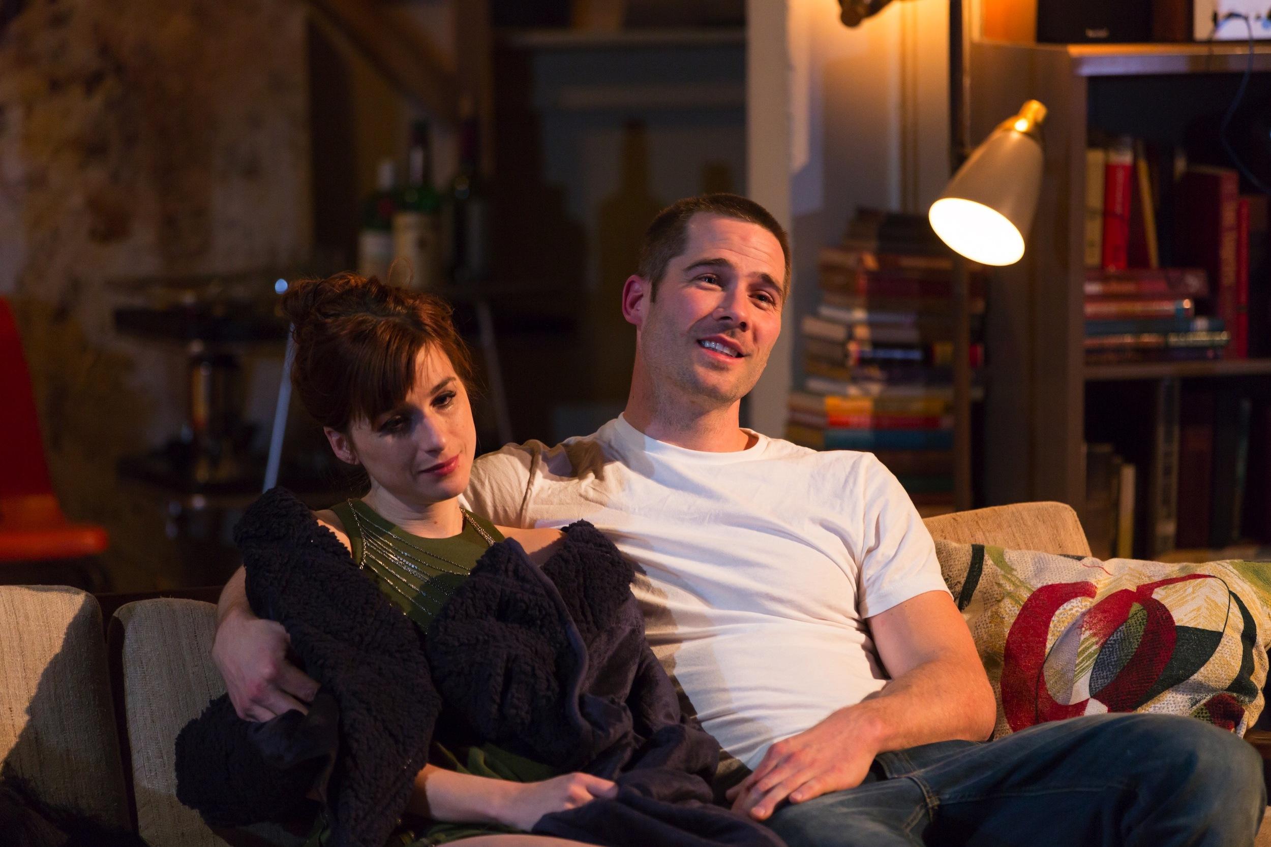 Claire (Aya Cash) and Jonathan (Luke Macfarlane)